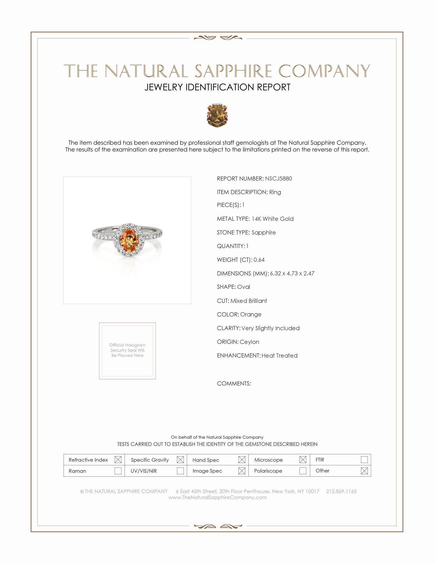 0.64ct Orange Sapphire Ring Certification