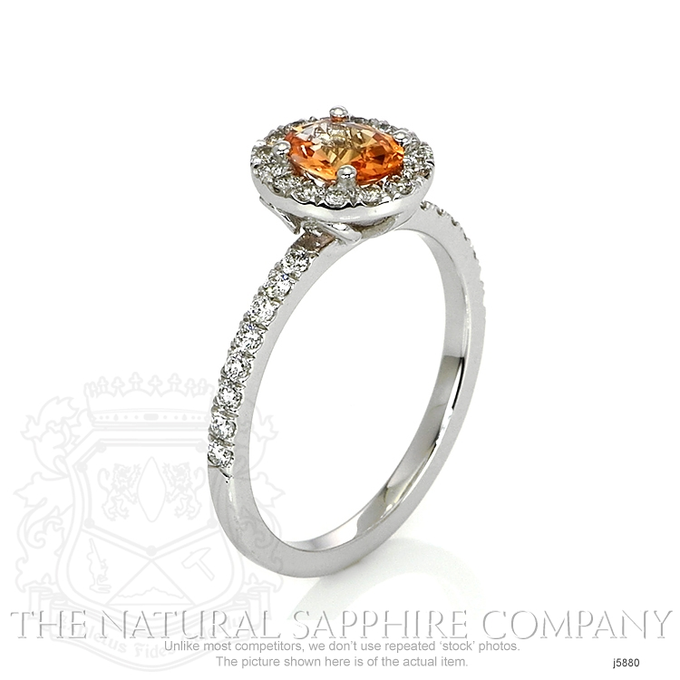 0.64ct Orange Sapphire Ring Image 2