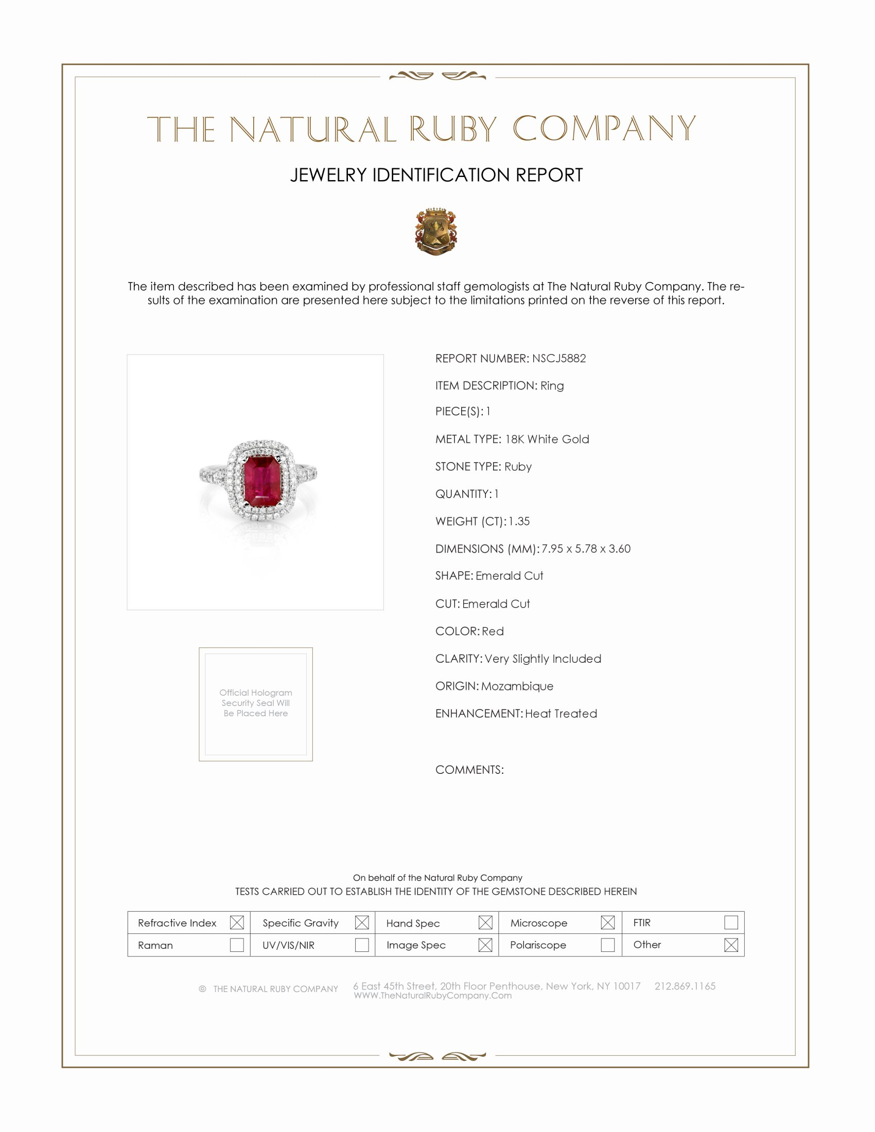 1.35ct Ruby Ring Certification