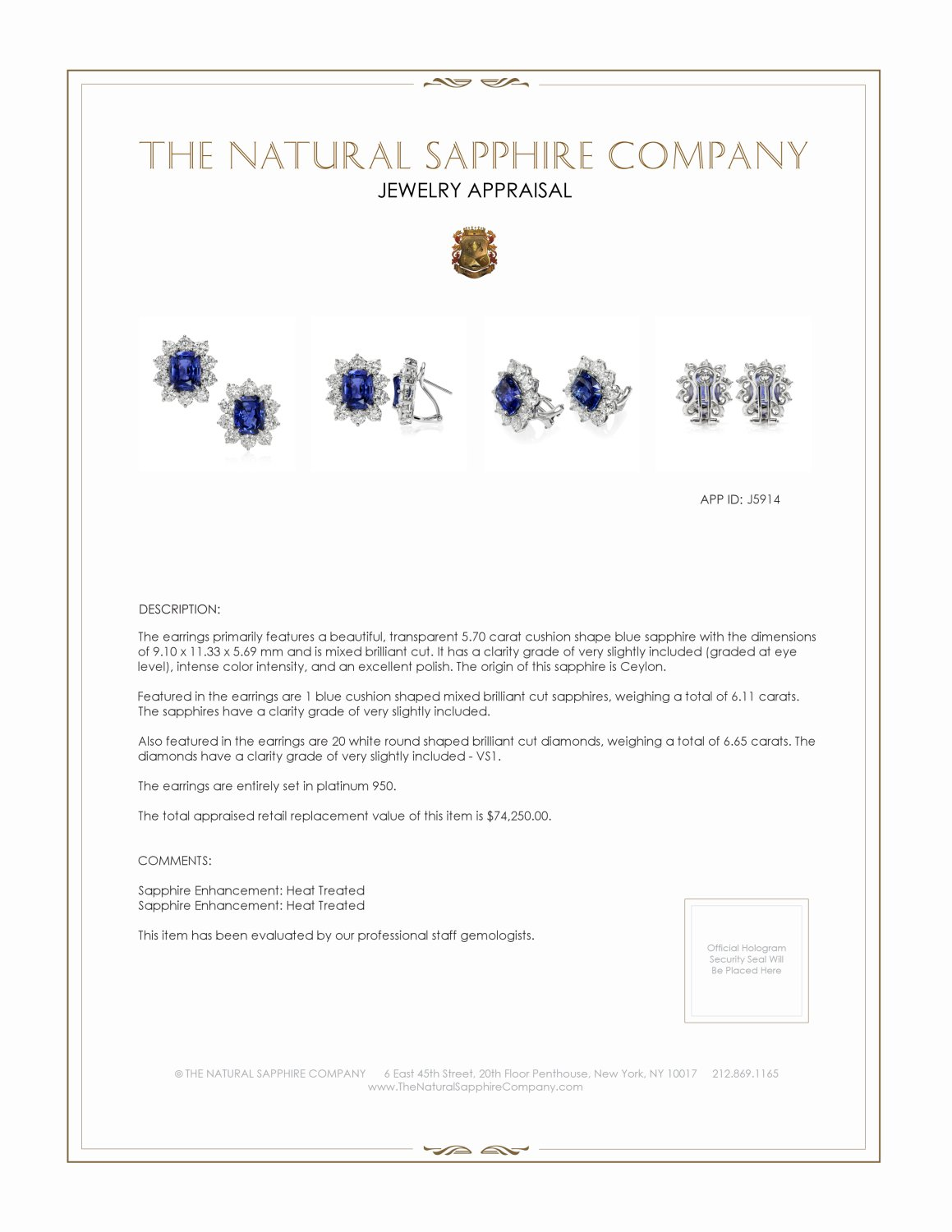 6.11ct Blue Sapphire Earring Certification 3