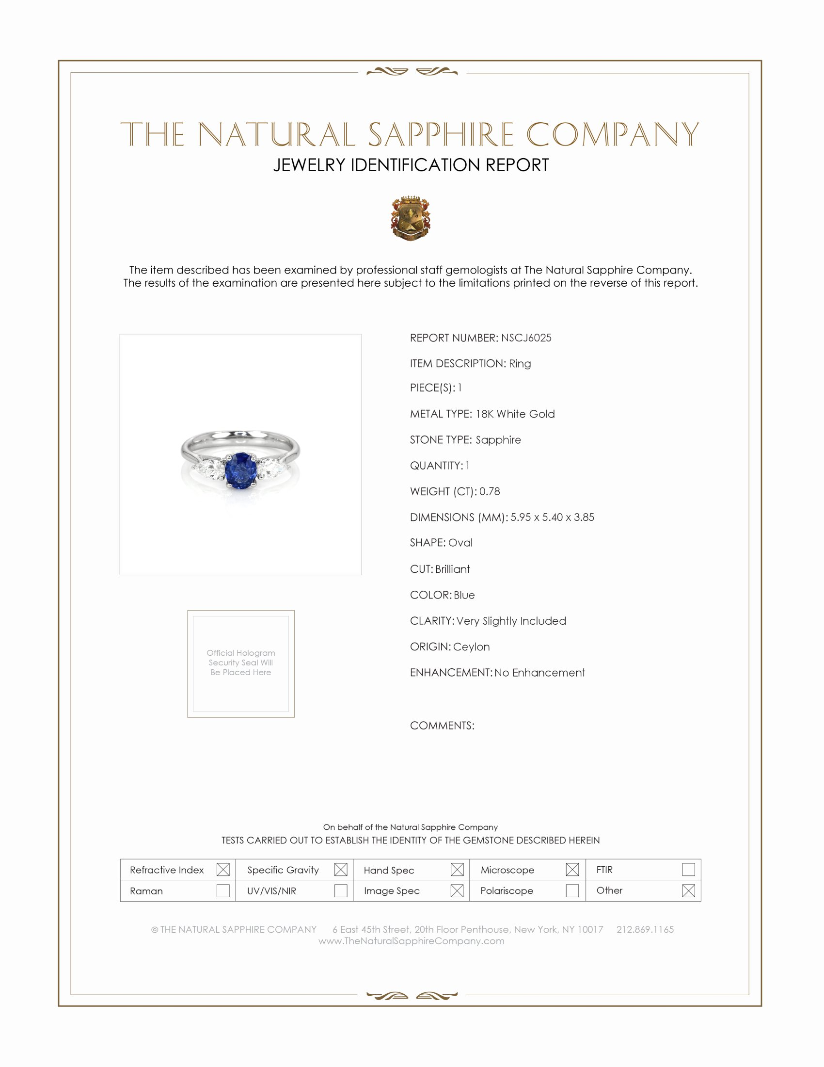 0.78ct Blue Sapphire Ring Certification