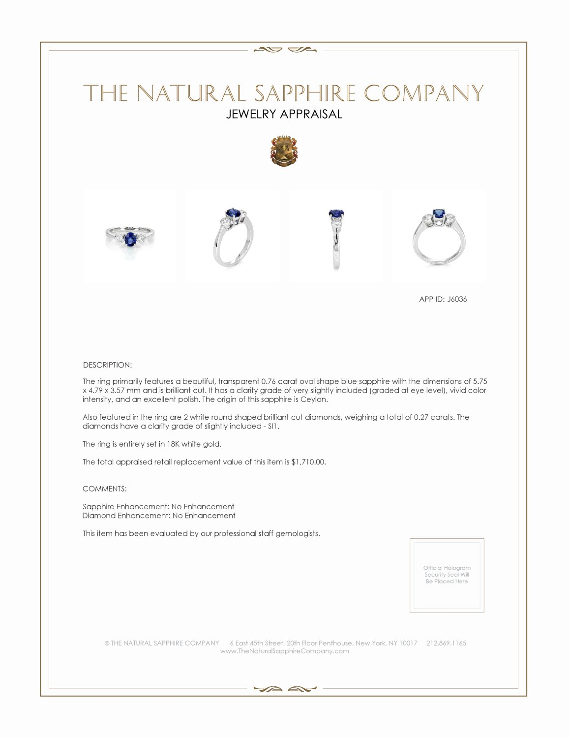 0.76ct Blue Sapphire Ring Certification 2