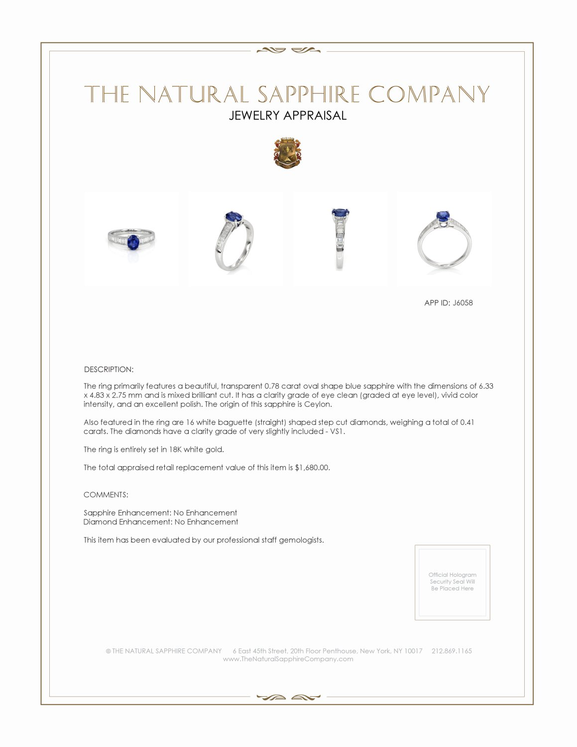 0.78ct Blue Sapphire Ring Certification 2