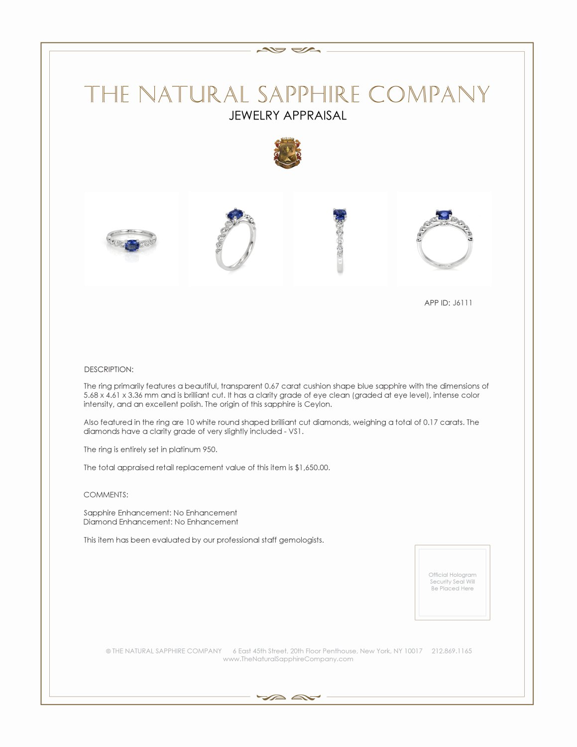 0.67ct Blue Sapphire Ring Certification 2