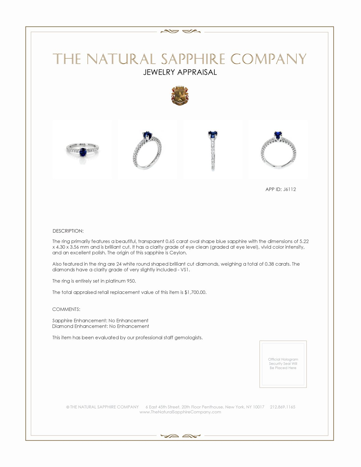 0.65ct Blue Sapphire Ring Certification