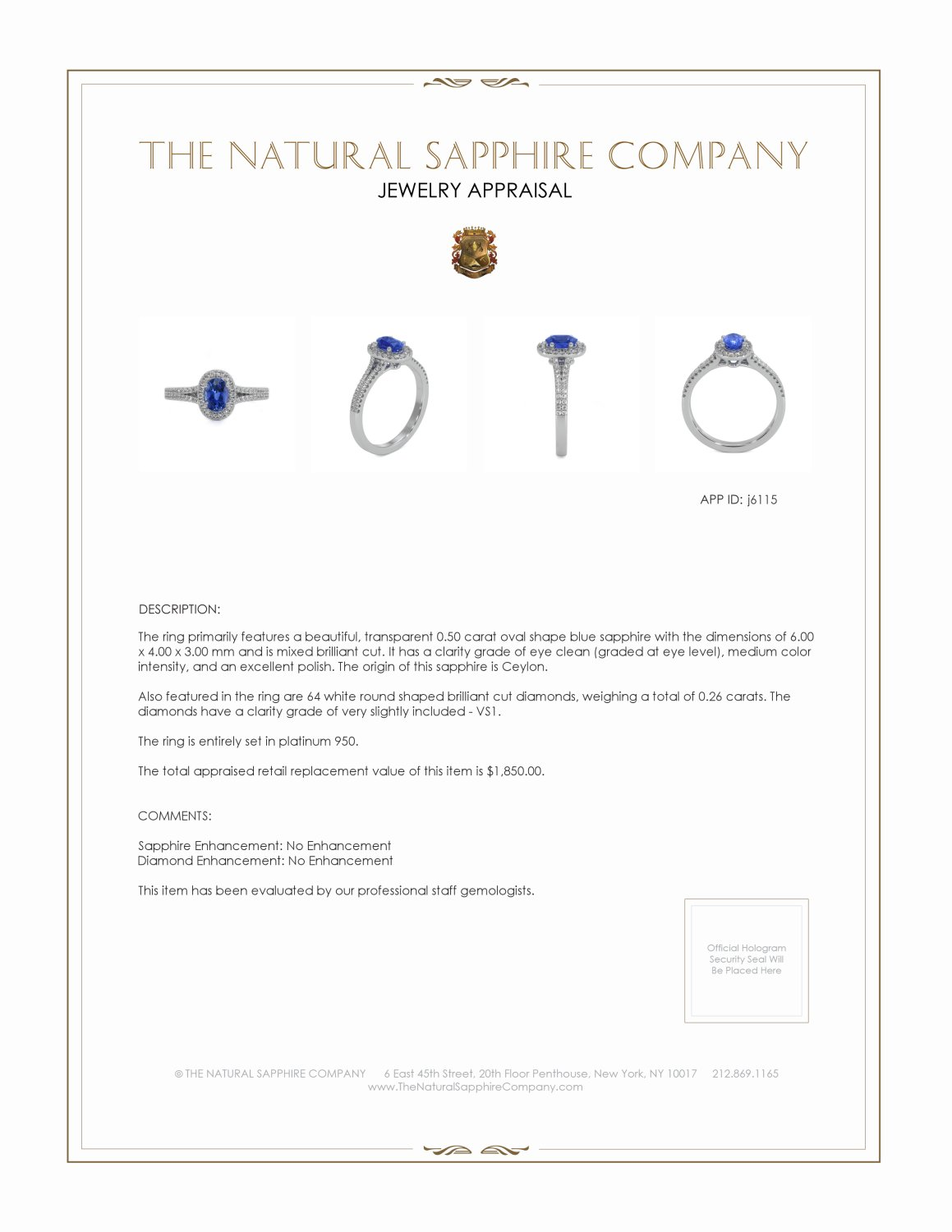 0.45ct Blue Sapphire Ring Certification 2