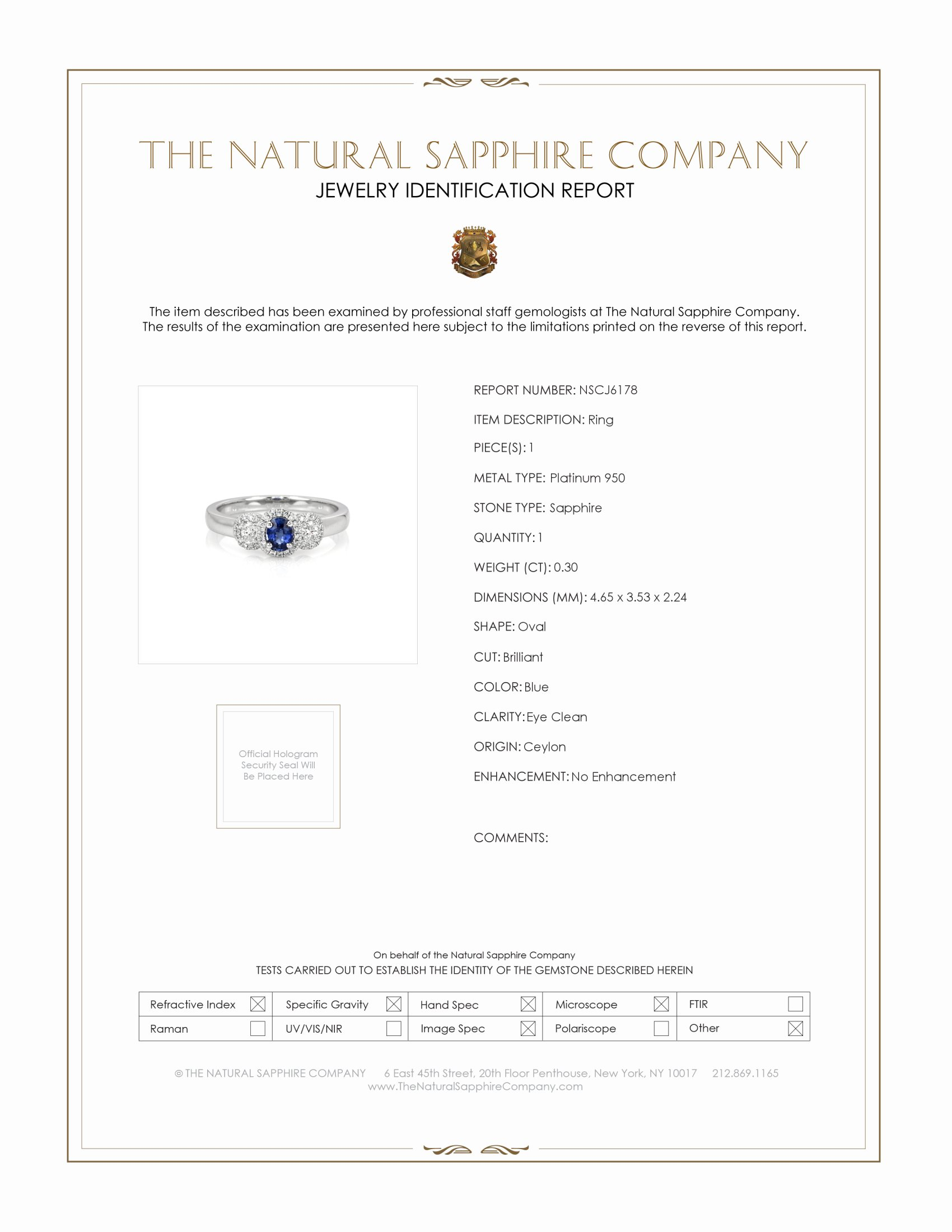 0.30ct Blue Sapphire Ring Certification