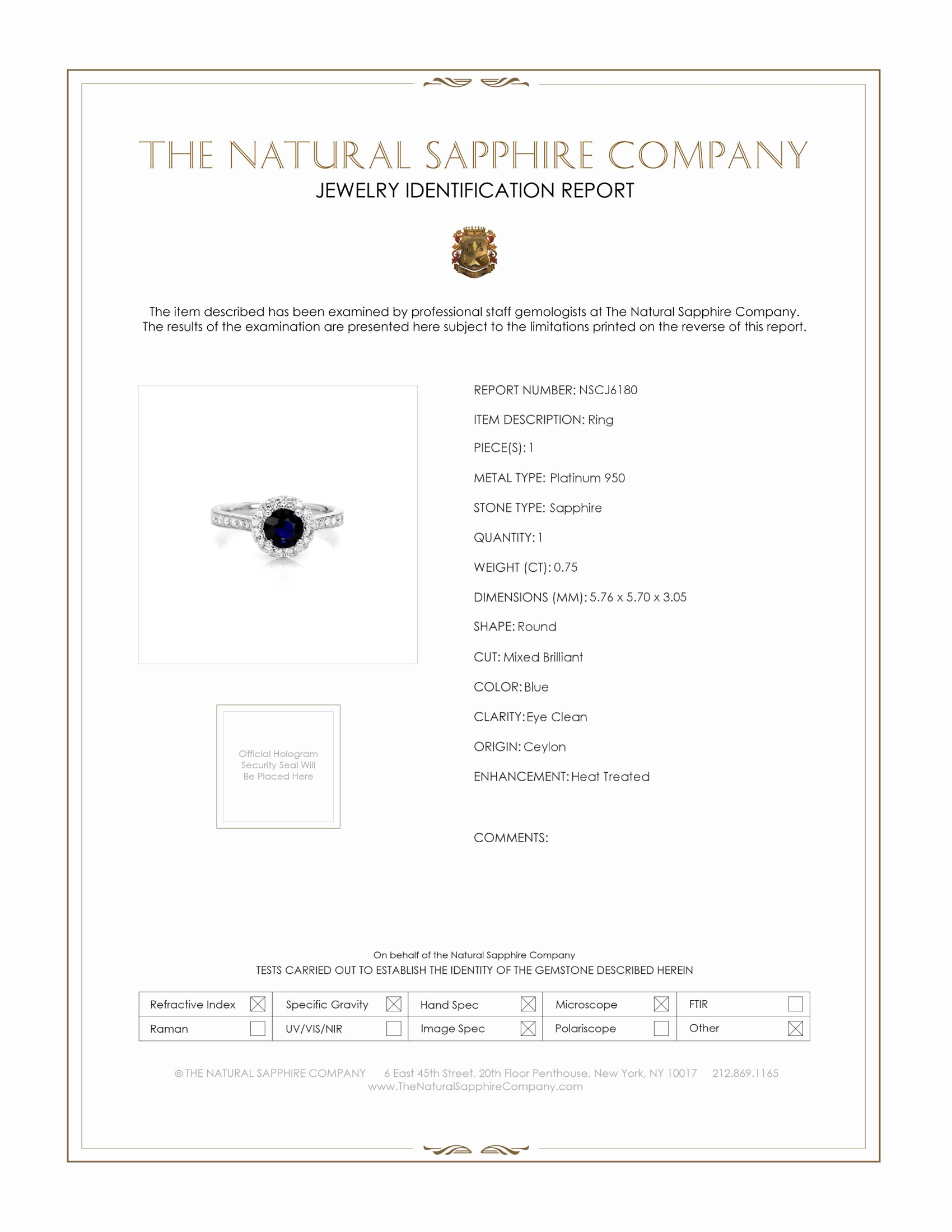 0.75ct Blue Sapphire Ring Certification