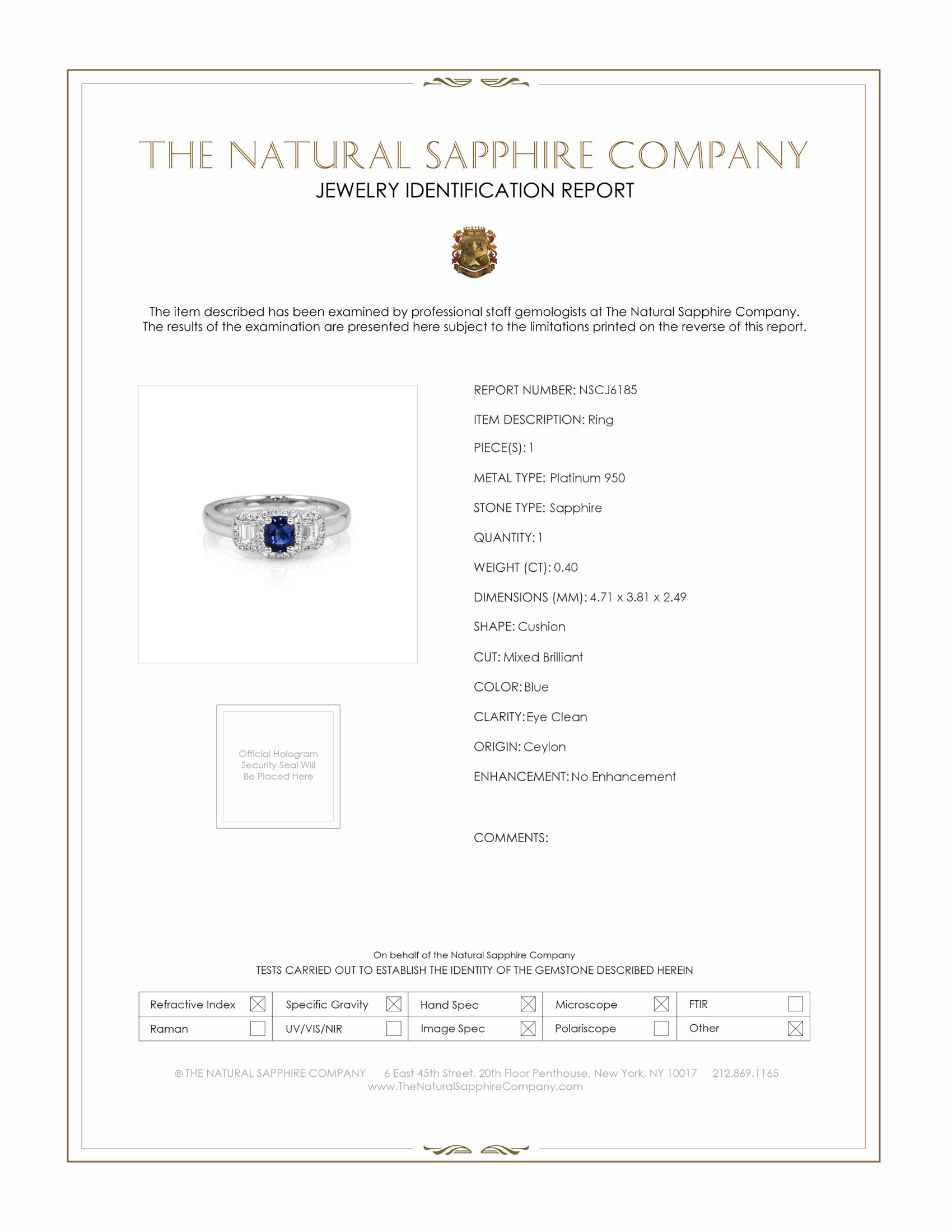 0.40ct Blue Sapphire Ring Certification