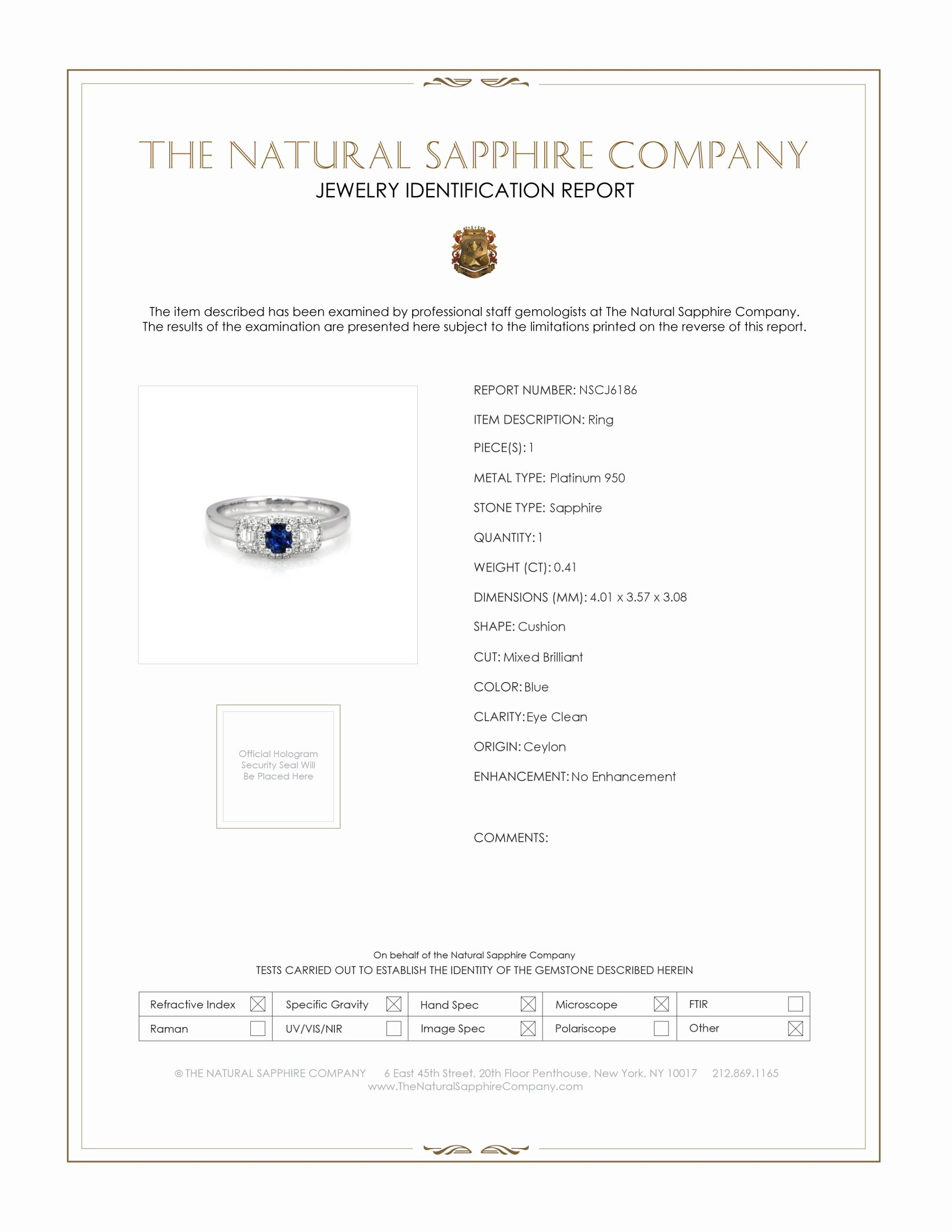 0.41ct Blue Sapphire Ring Certification