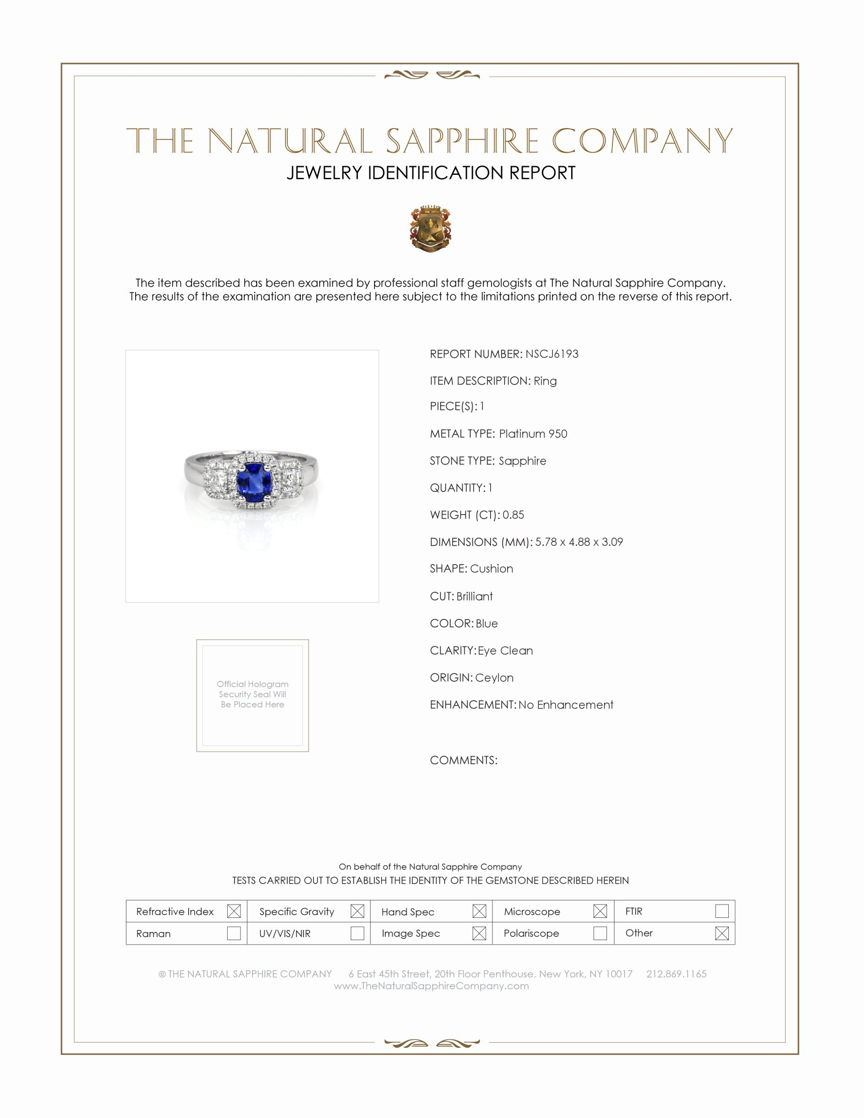 0.85ct Blue Sapphire Ring Certification