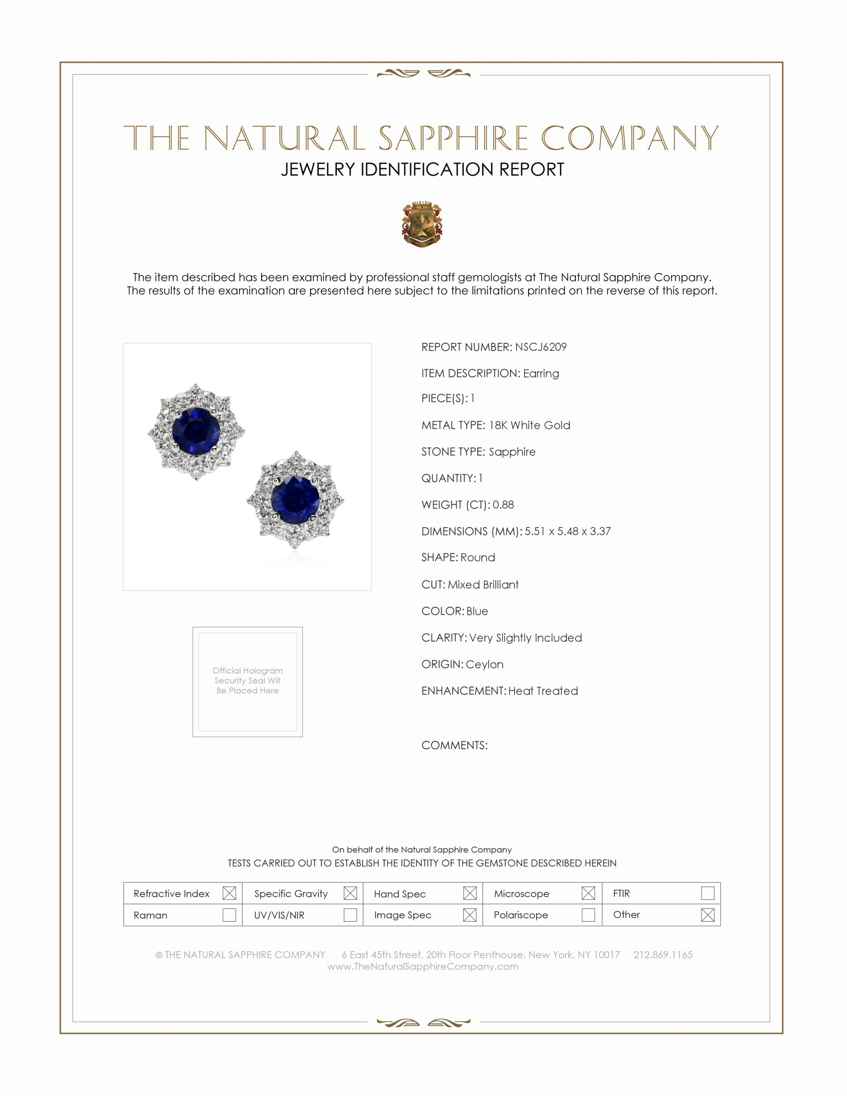 0.88ct Blue Sapphire Earring Certification
