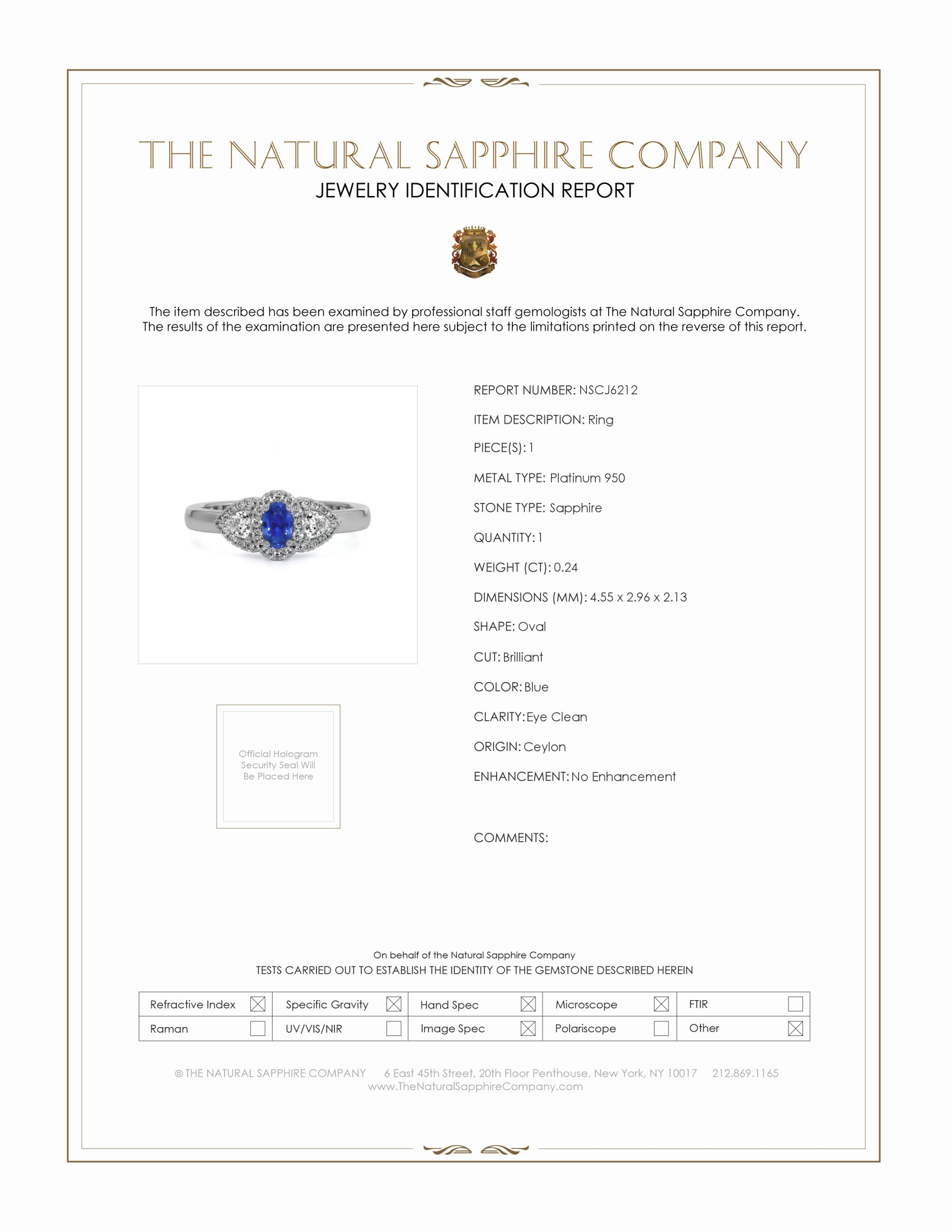 0.24ct Blue Sapphire Ring Certification