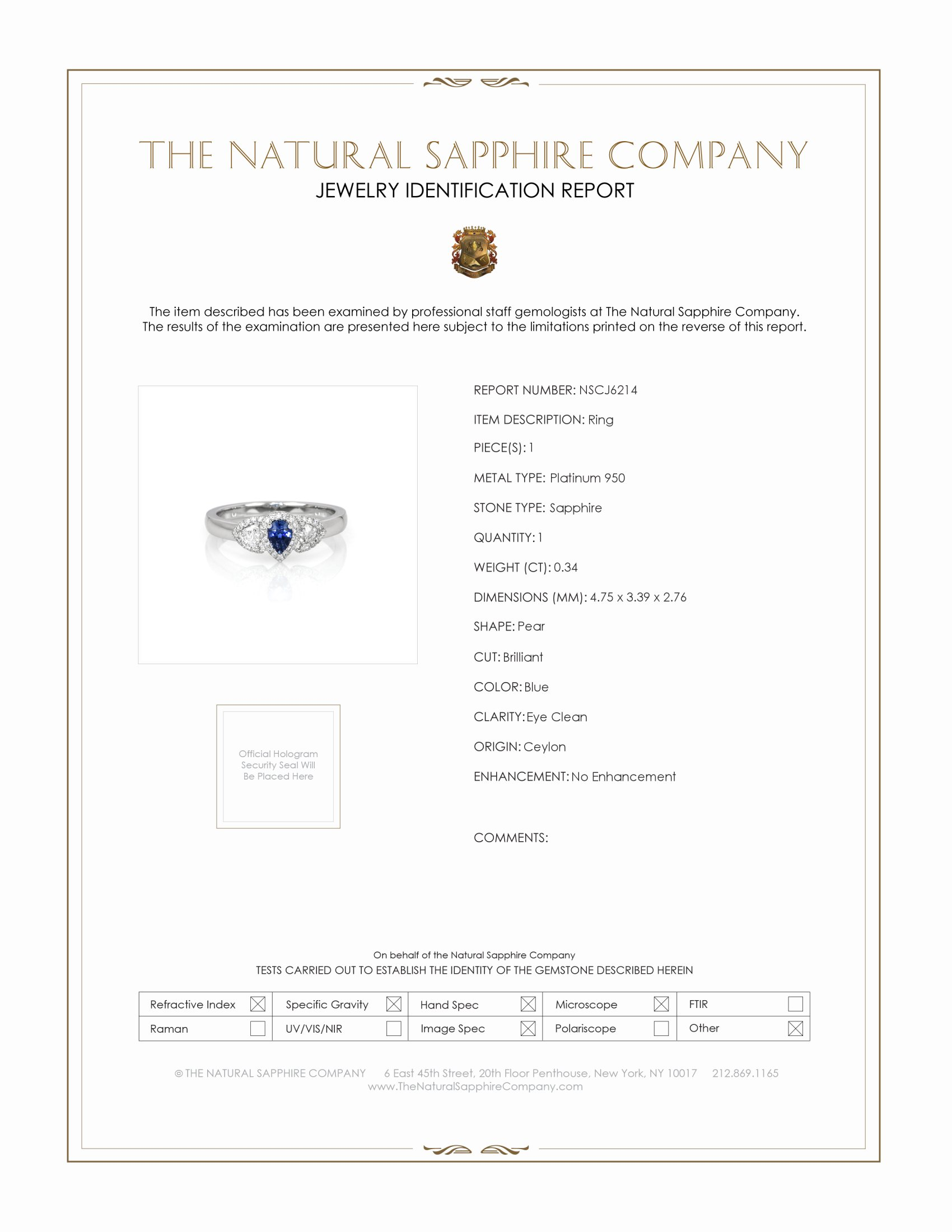 0.34ct Blue Sapphire Ring Certification