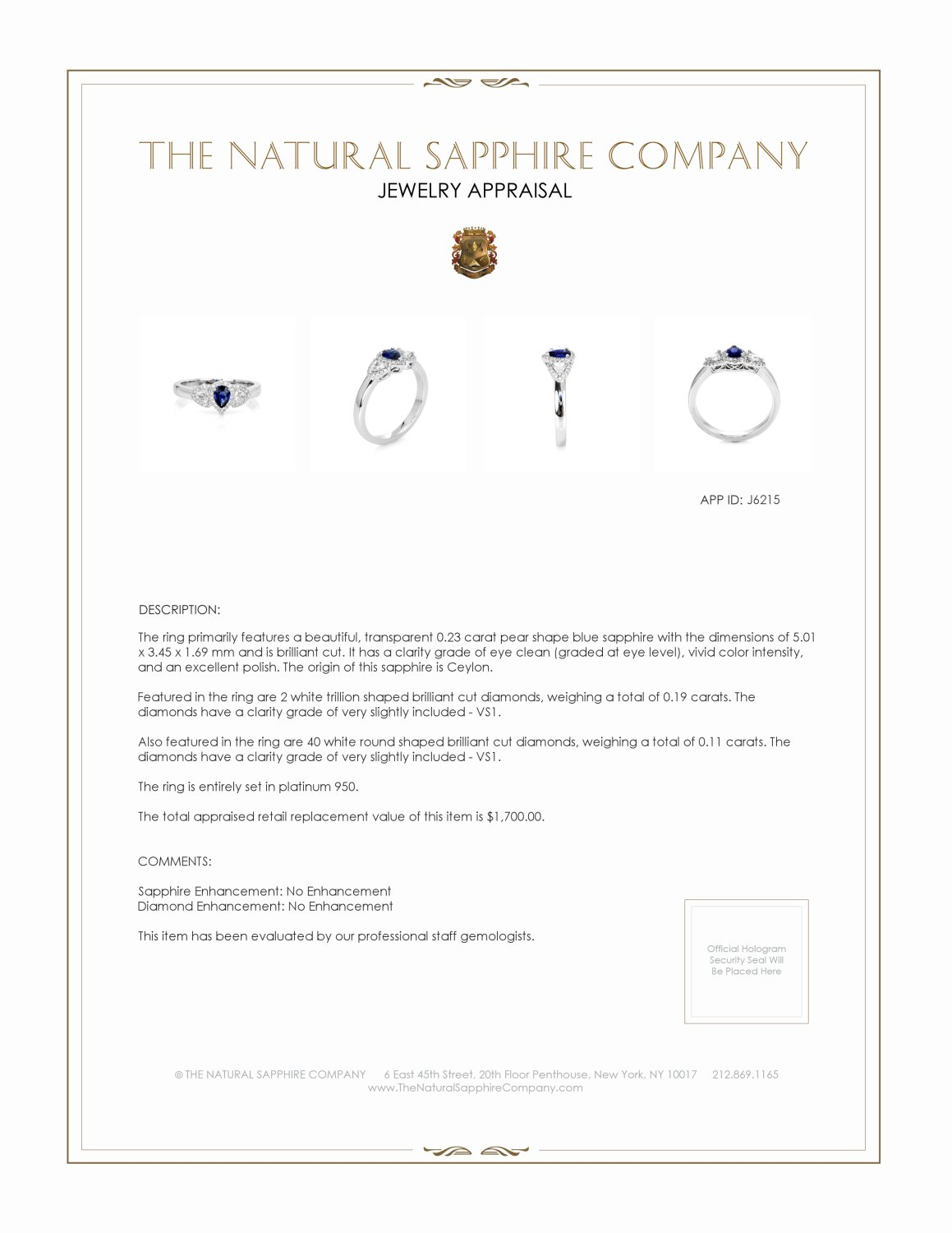 0.23ct Blue Sapphire Ring Certification 2