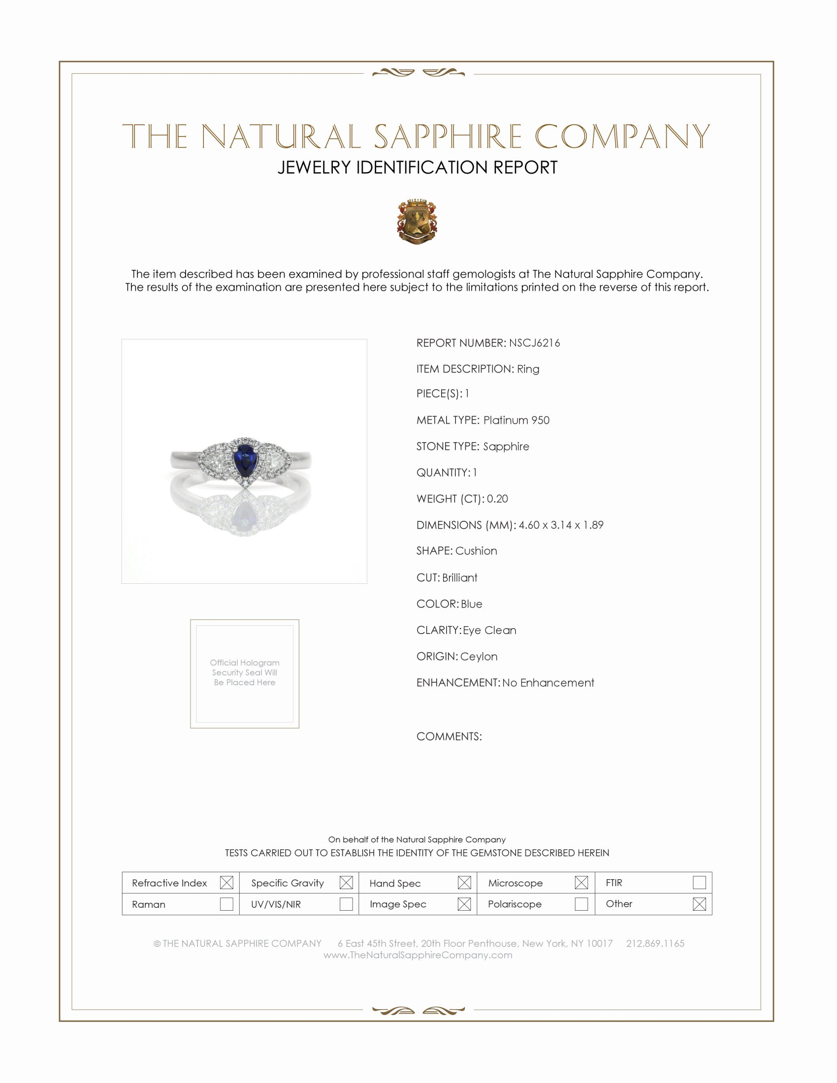 0.20ct Blue Sapphire Ring Certification