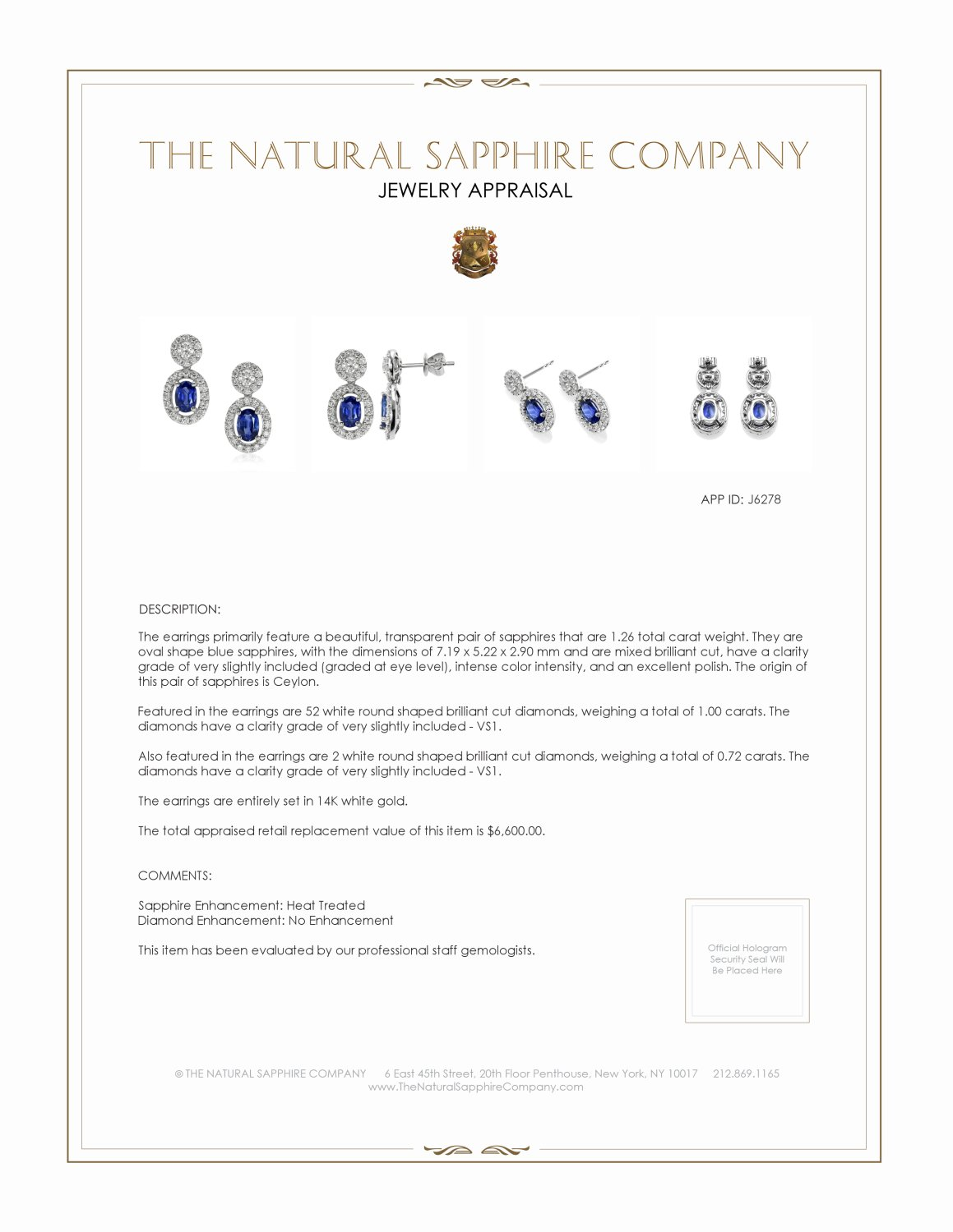 1.26ct Blue Sapphire Earring Certification 2