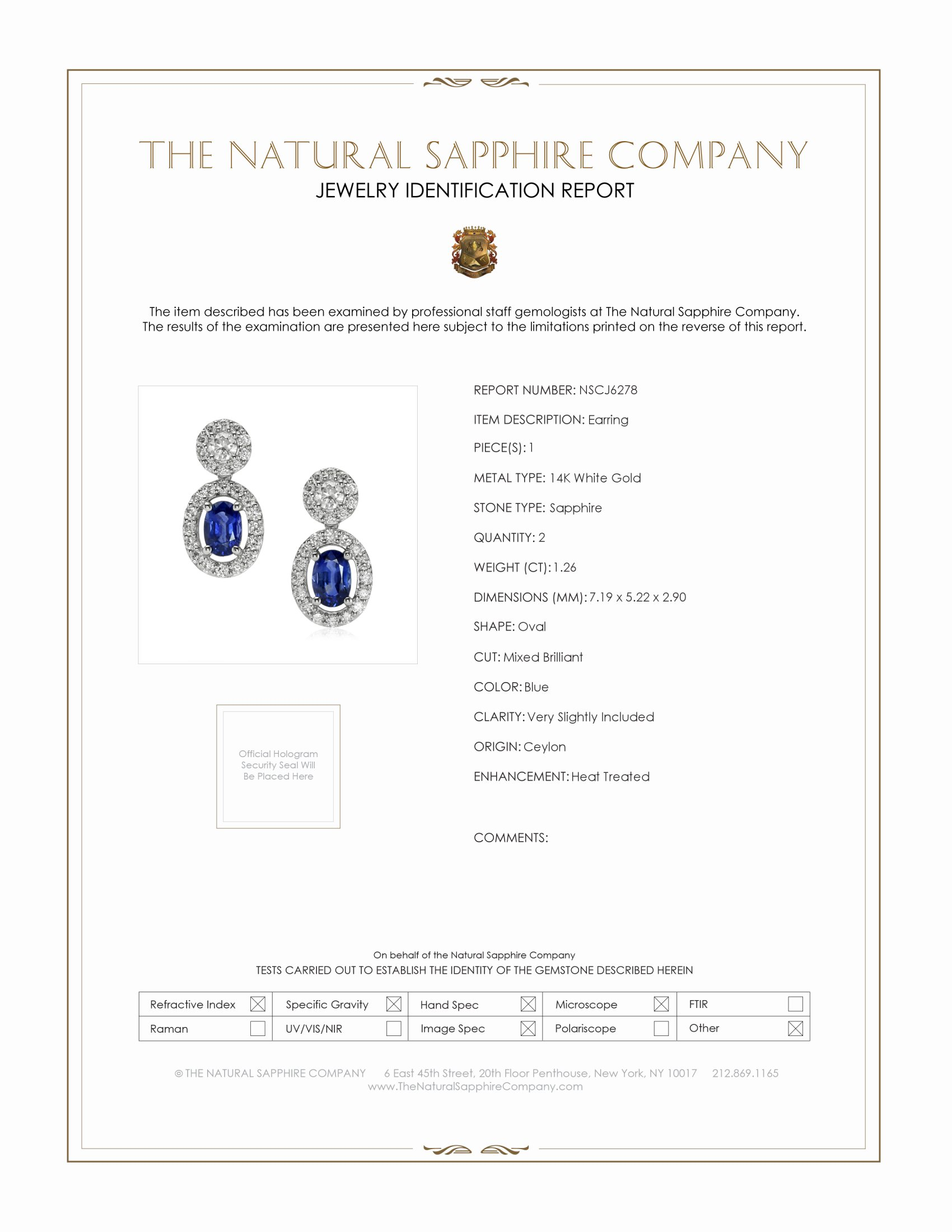 1.26ct Blue Sapphire Earring Certification