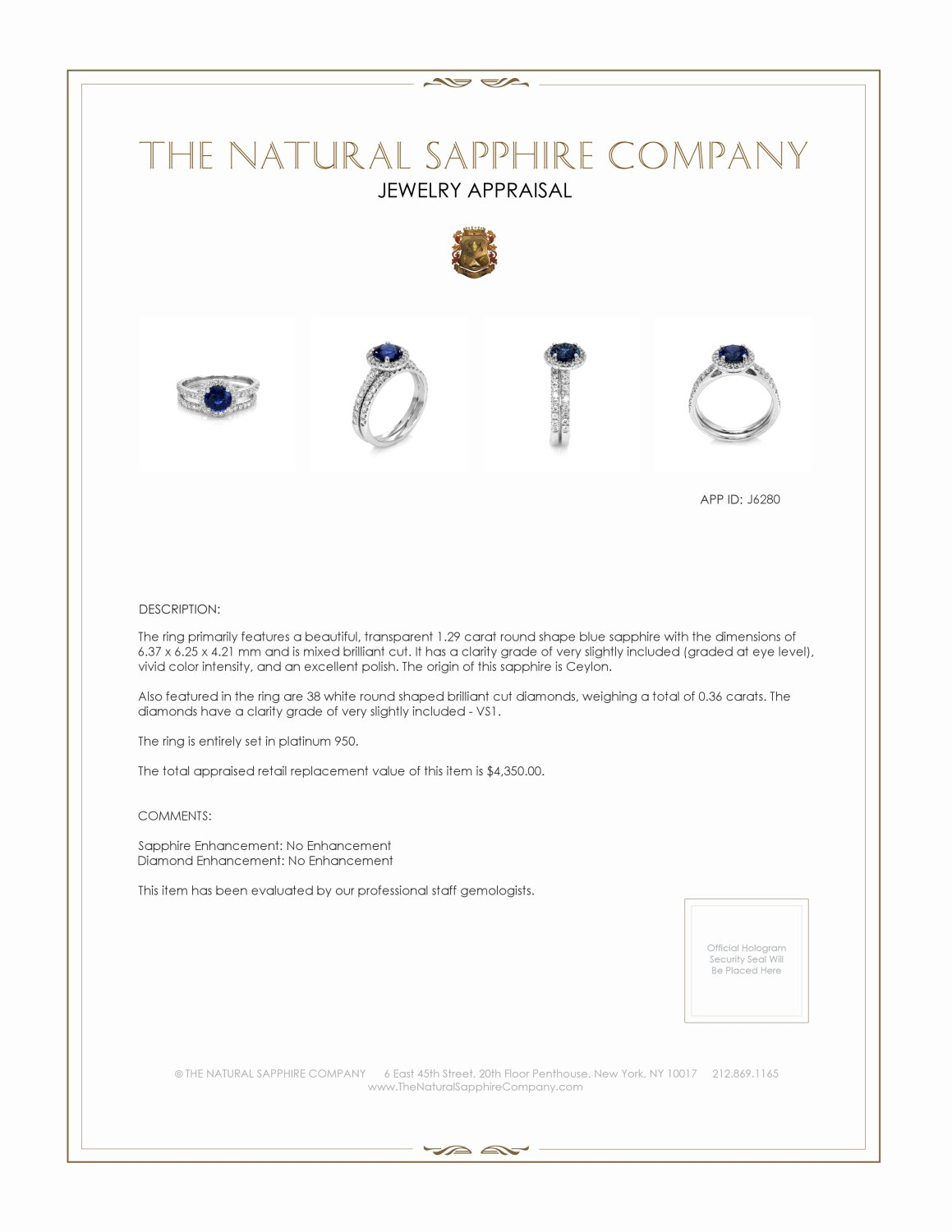 1.29ct Blue Sapphire Ring Certification 3