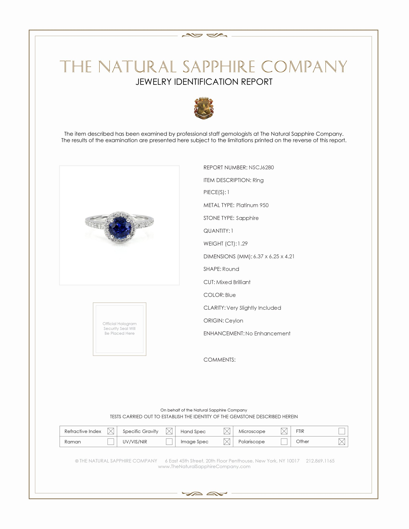 1.29ct Blue Sapphire Ring Certification