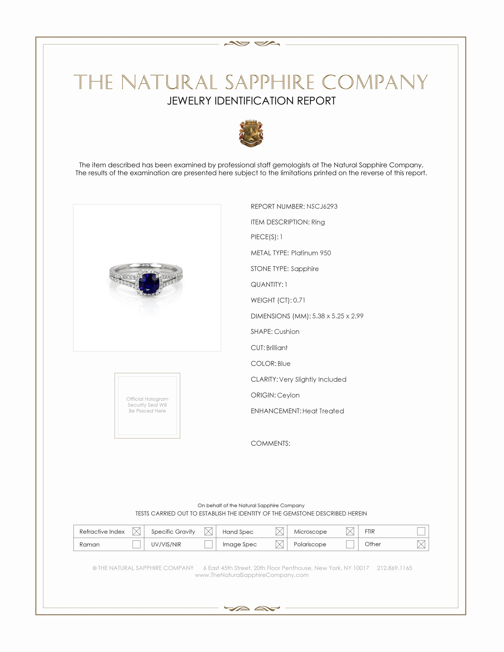 0.71ct Blue Sapphire Ring Certification