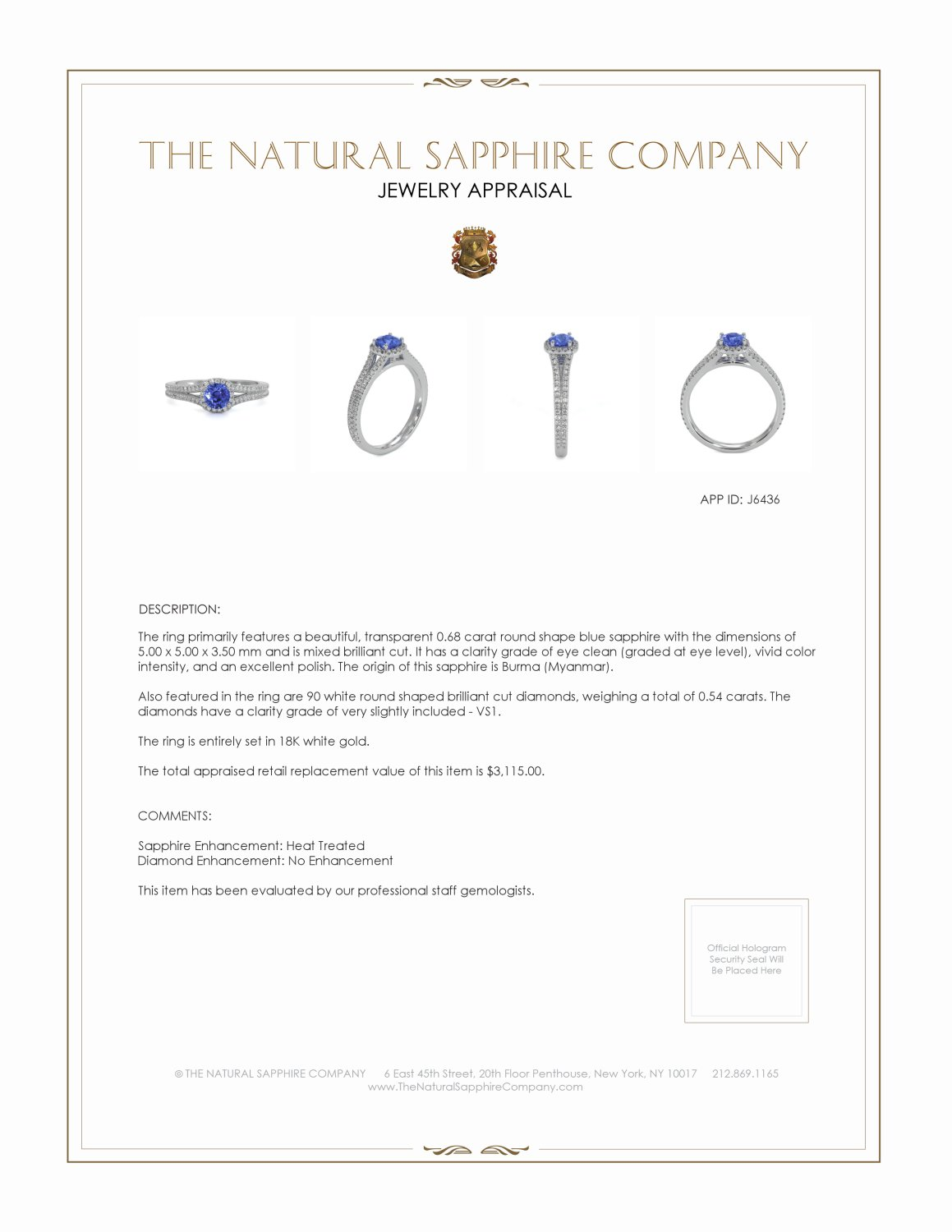 0.68ct Blue Sapphire Ring Certification