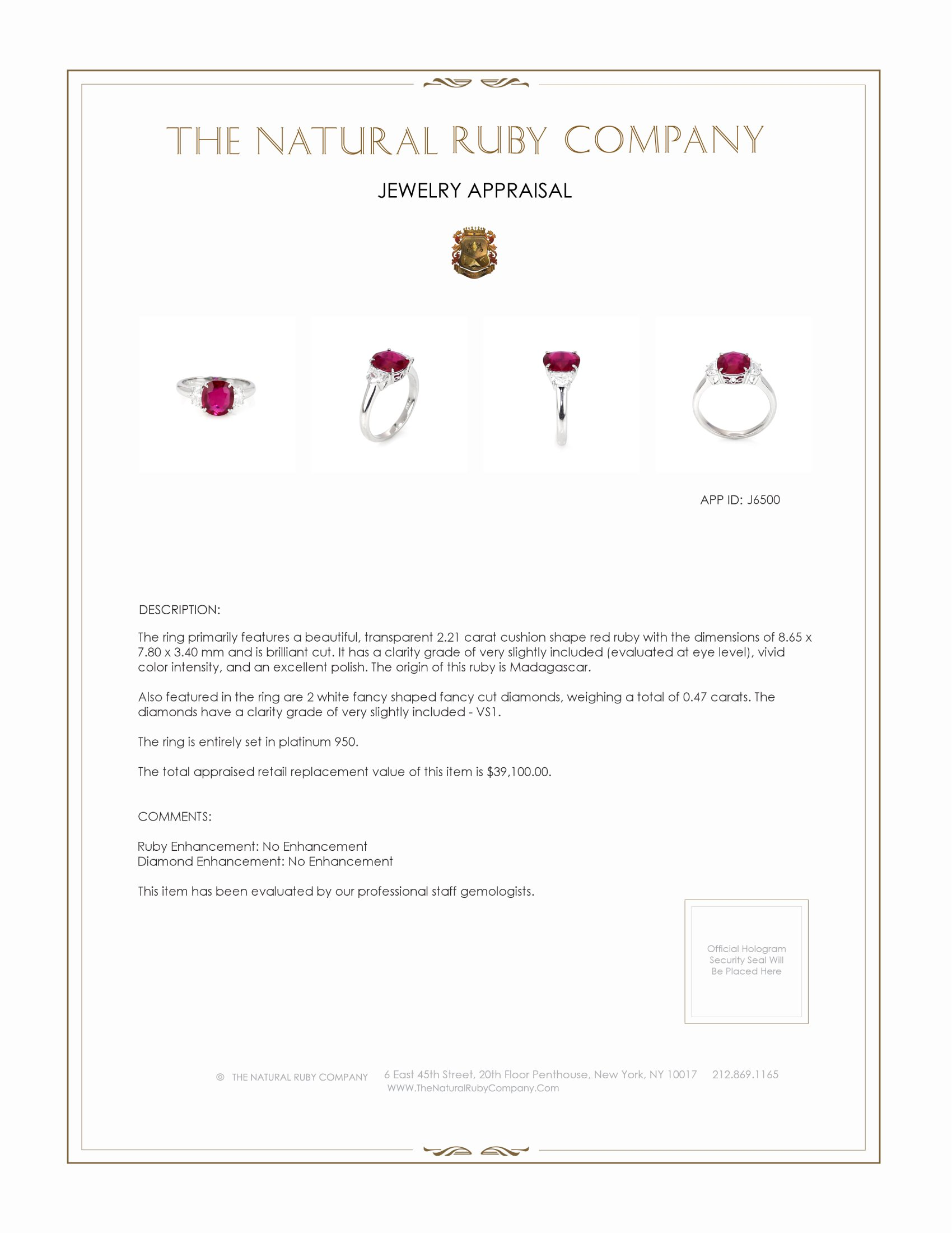 2.21ct Ruby Ring Certification 2