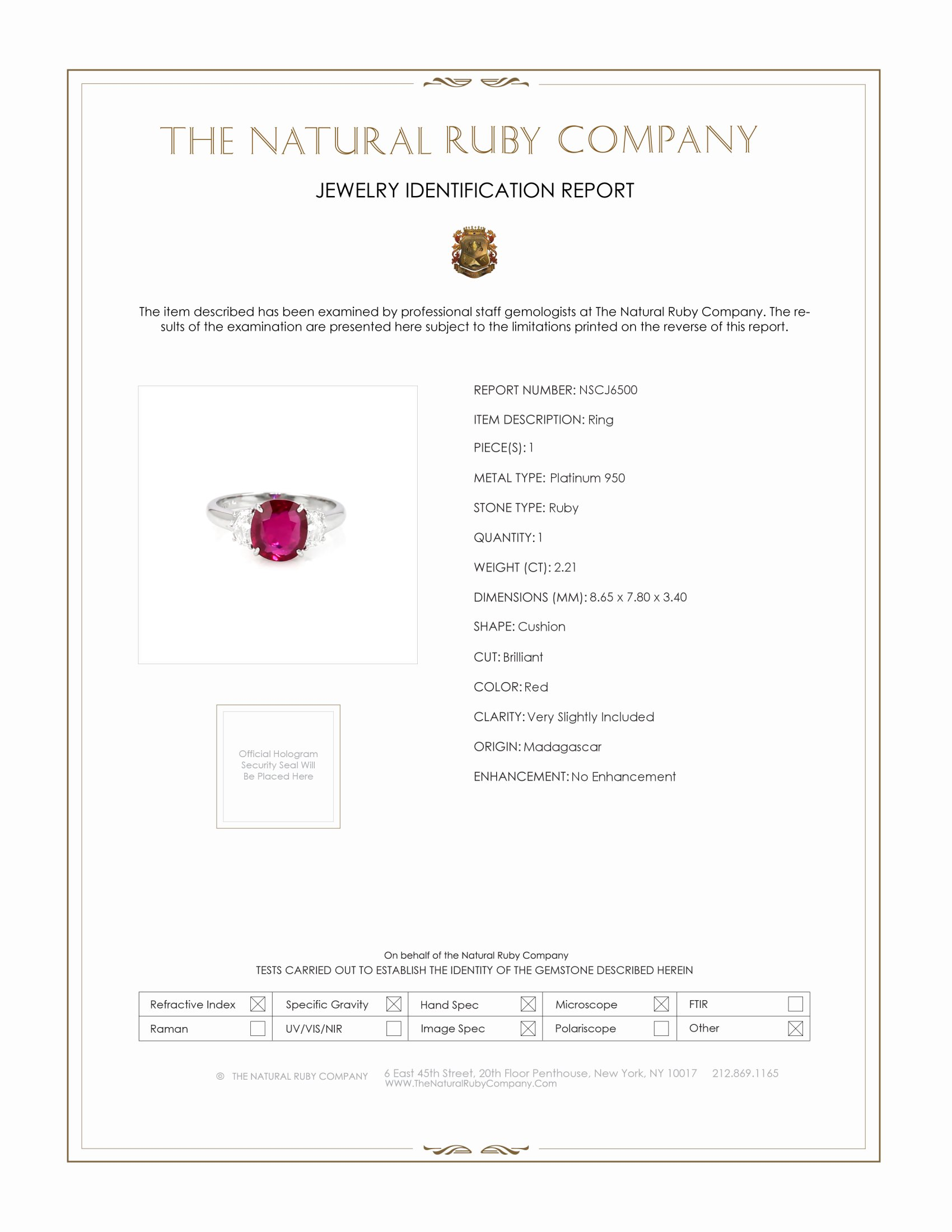 2.21ct Ruby Ring Certification