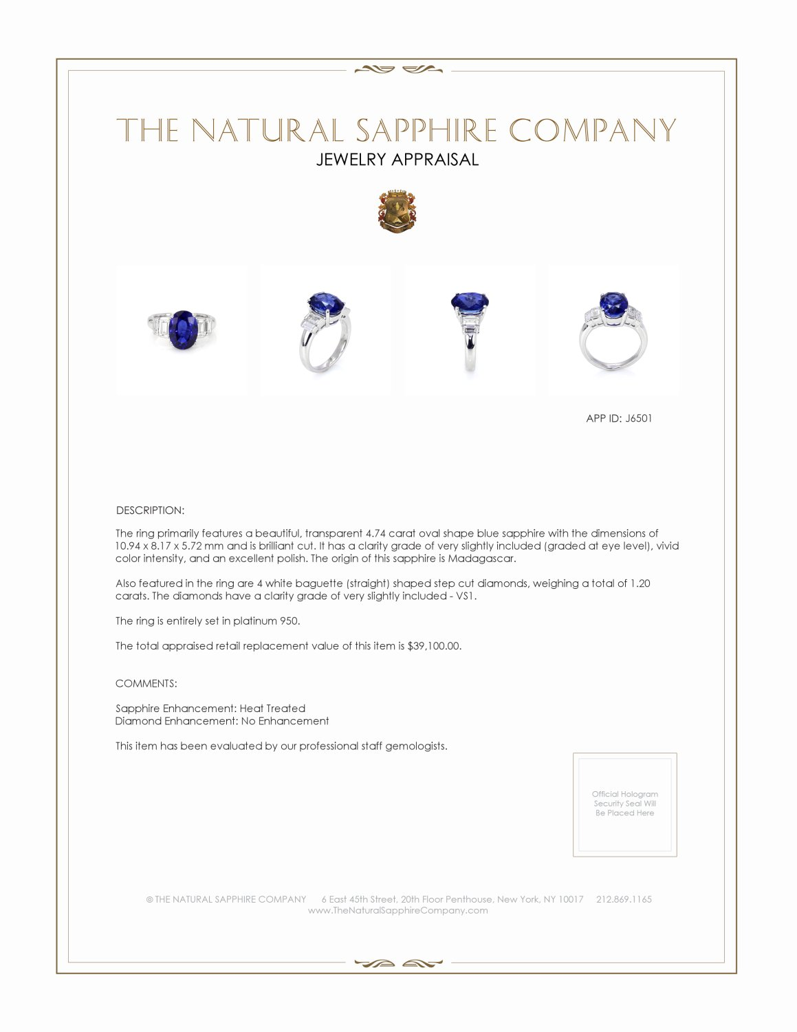 4.74ct Blue Sapphire Ring Certification 2