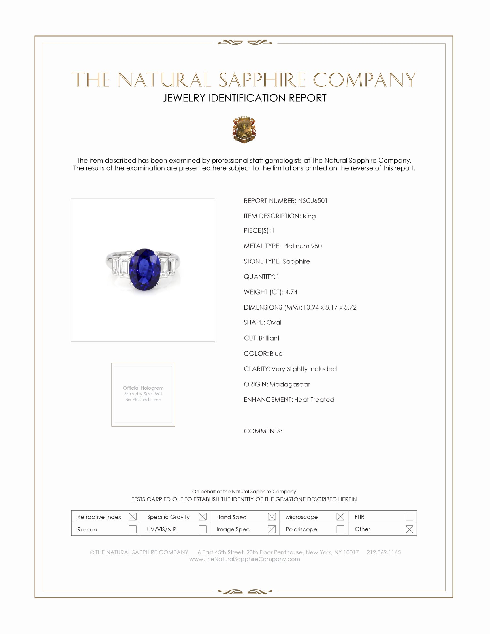 4.74ct Blue Sapphire Ring Certification