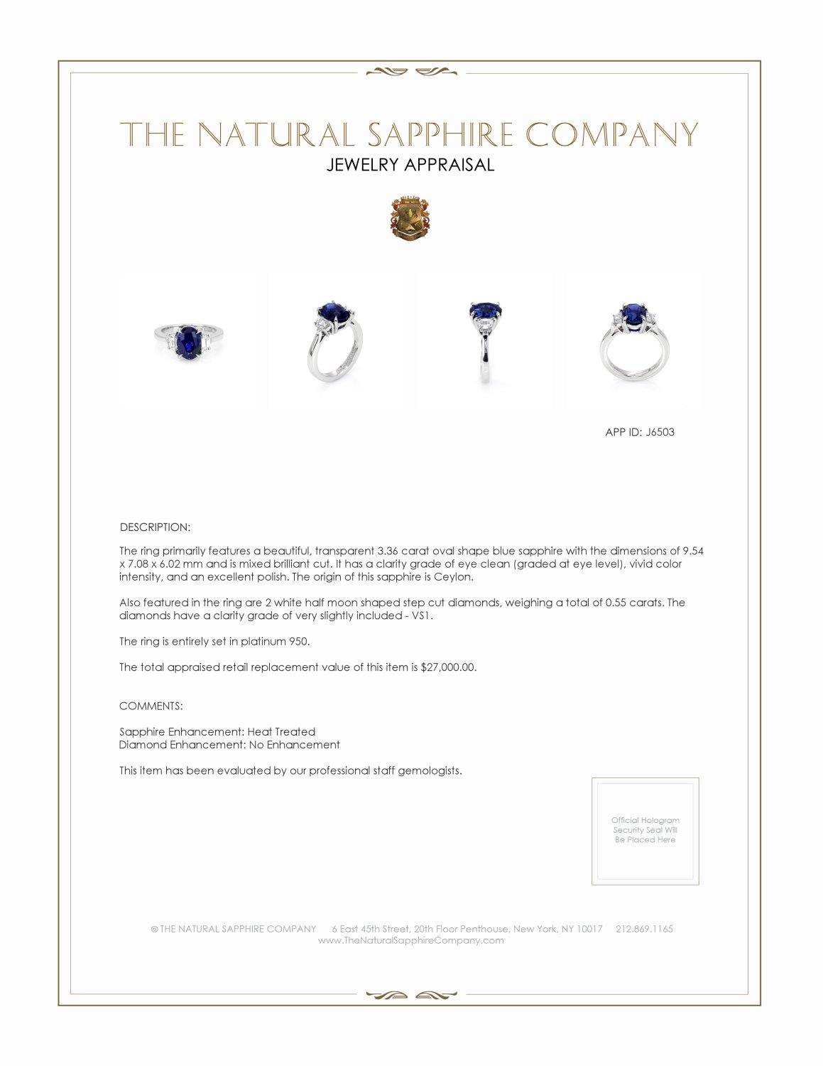 3.36ct Blue Sapphire Ring Certification