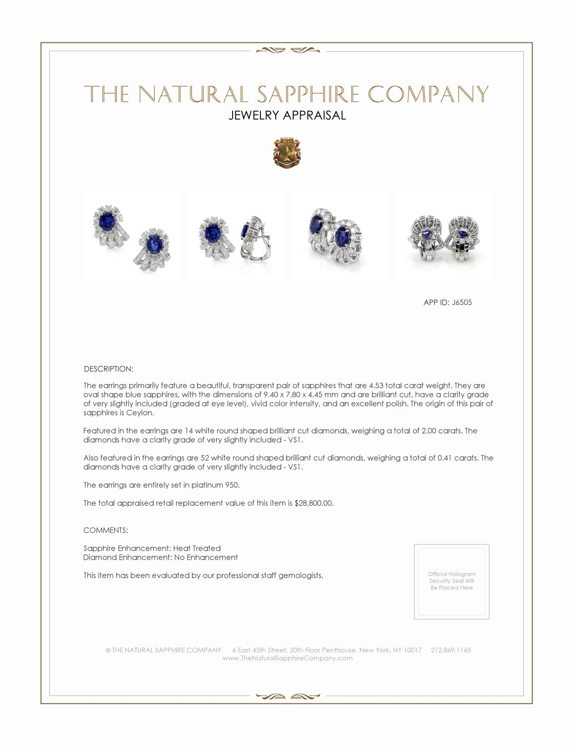 4.53ct Blue Sapphire Earring Certification 3