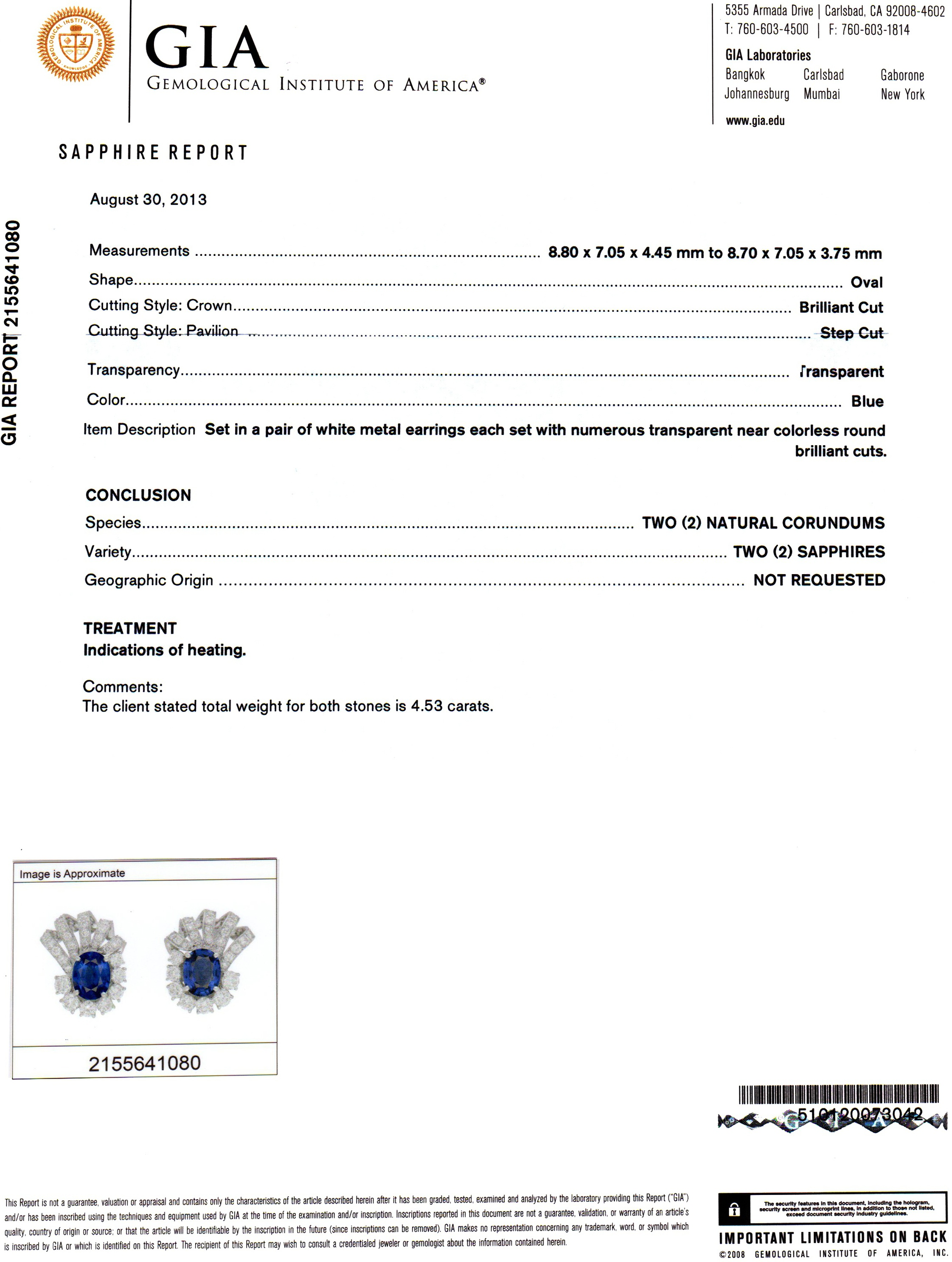4.53ct Blue Sapphire Earring Certification 2