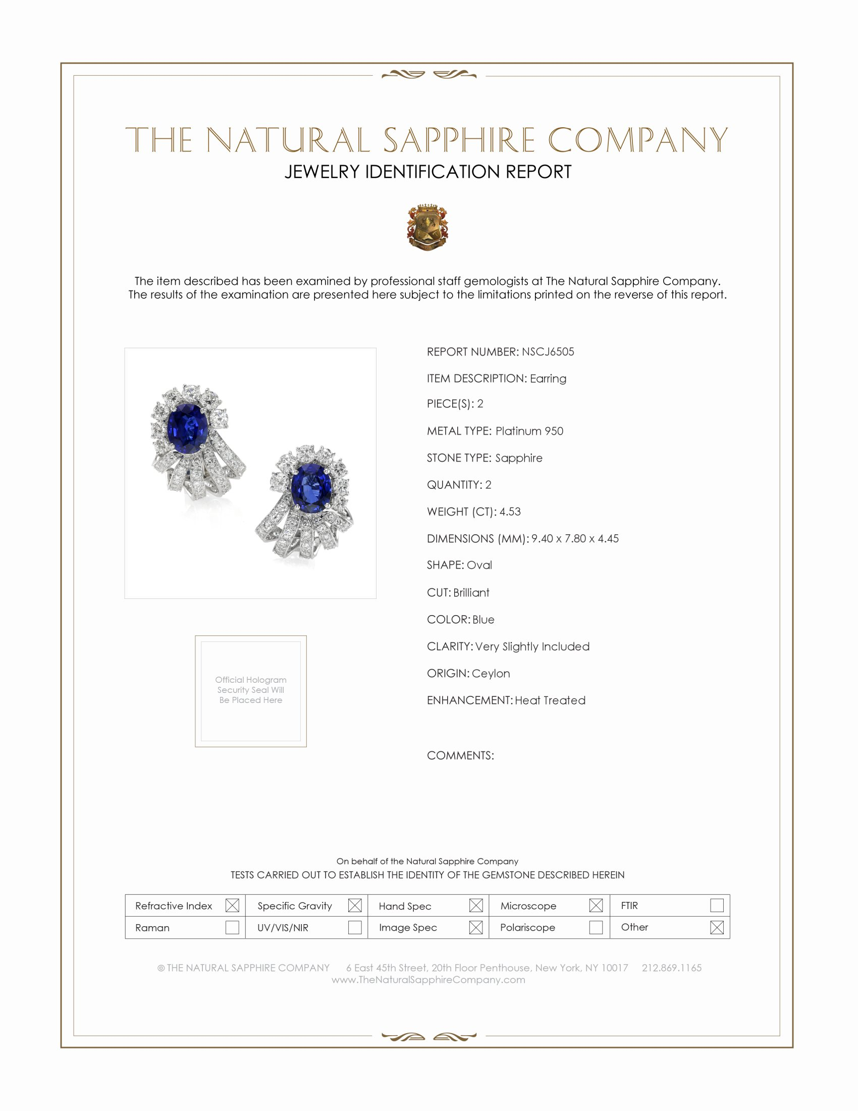 4.53ct Blue Sapphire Earring Certification
