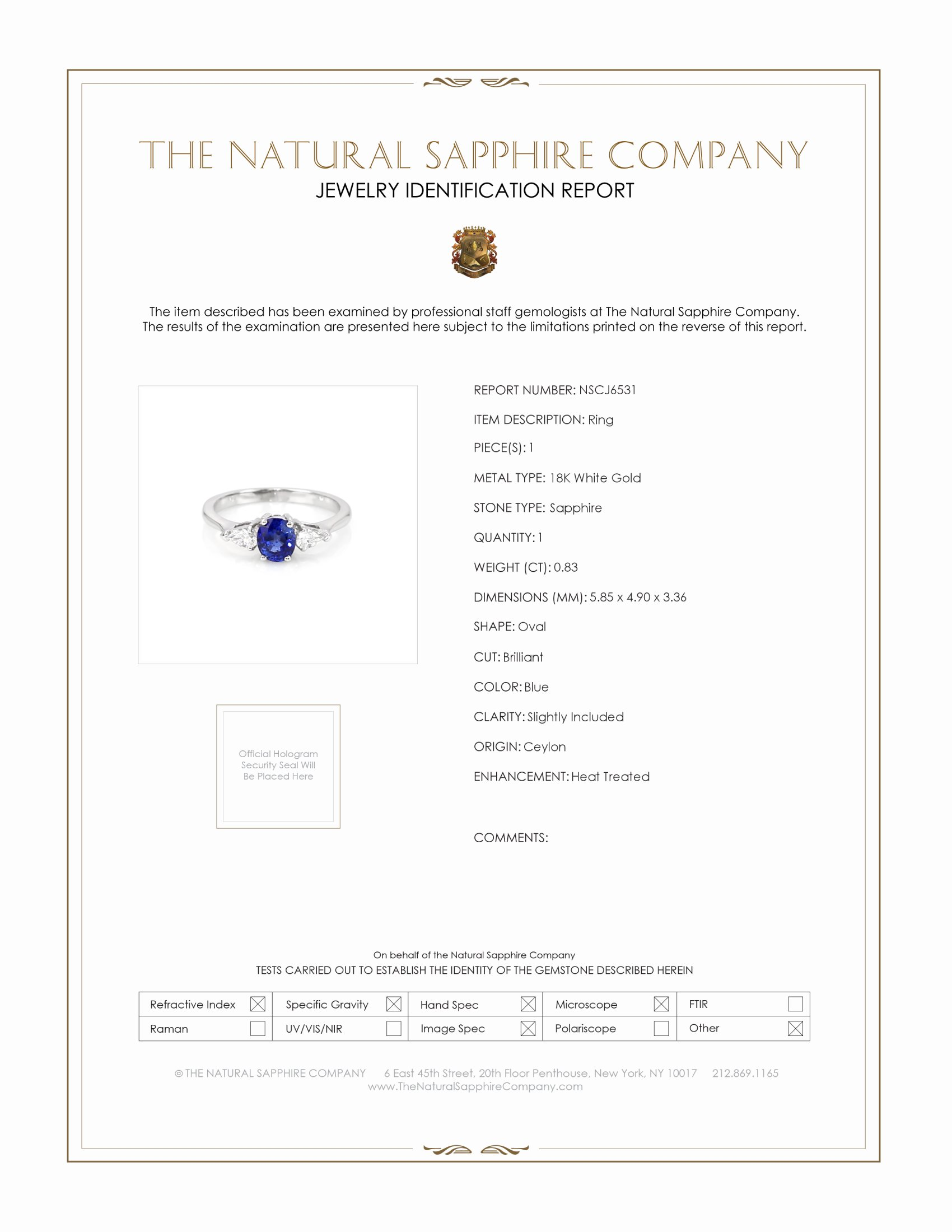 0.83ct Blue Sapphire Ring Certification