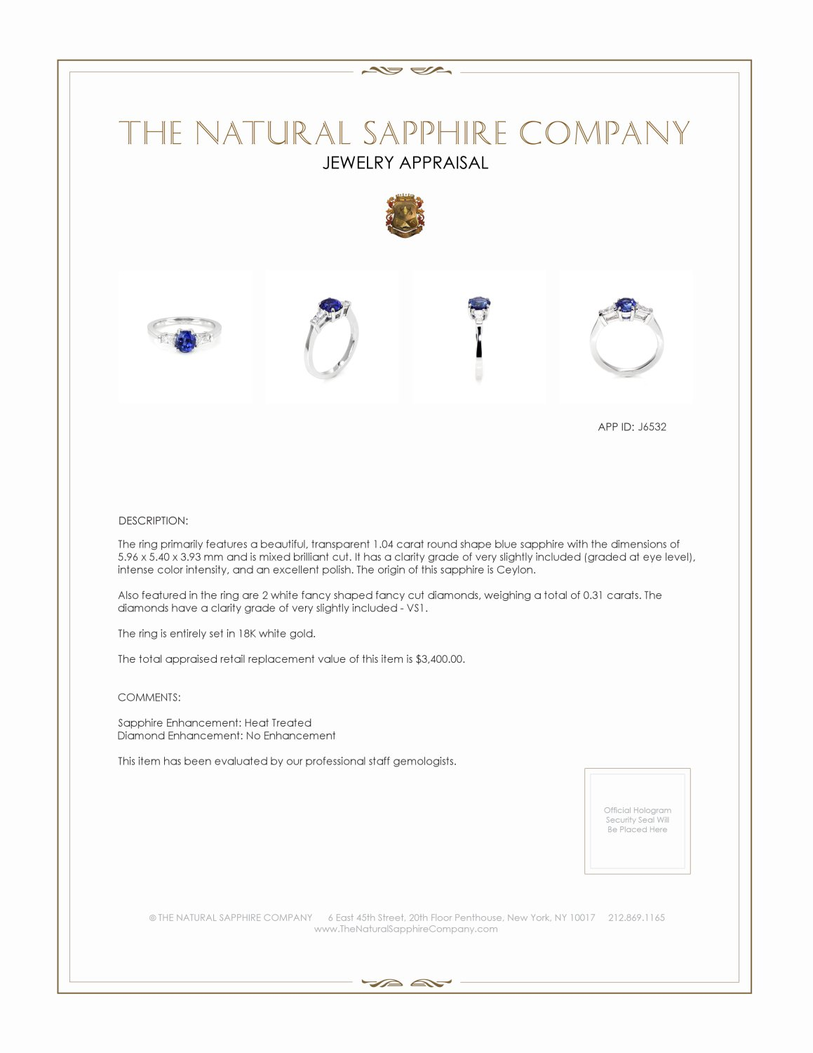 1.04ct Blue Sapphire Ring Certification 2