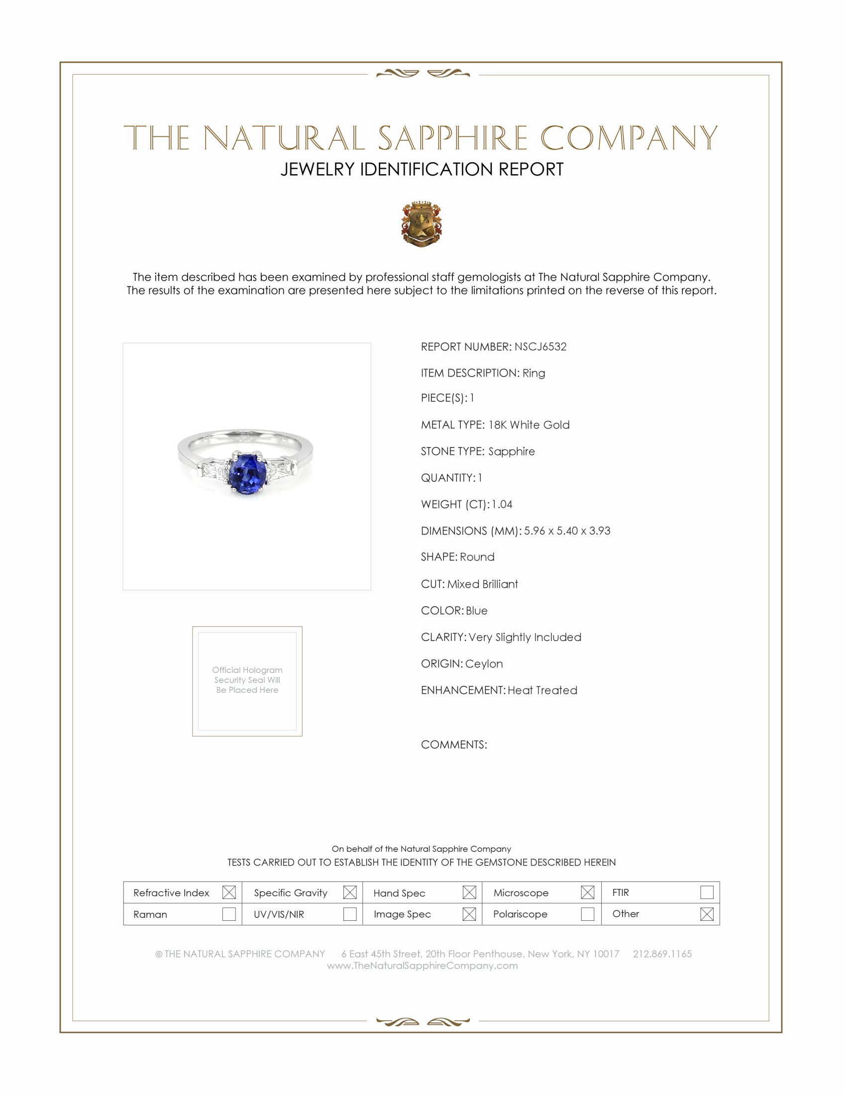 1.04ct Blue Sapphire Ring Certification