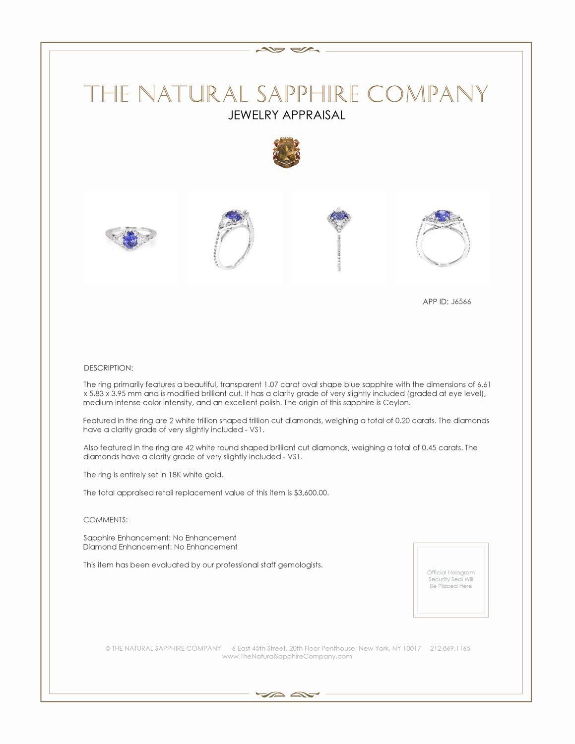 1.07ct Blue Sapphire Ring Certification 3