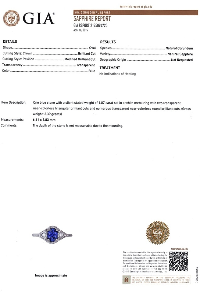1.07ct Blue Sapphire Ring Certification 2