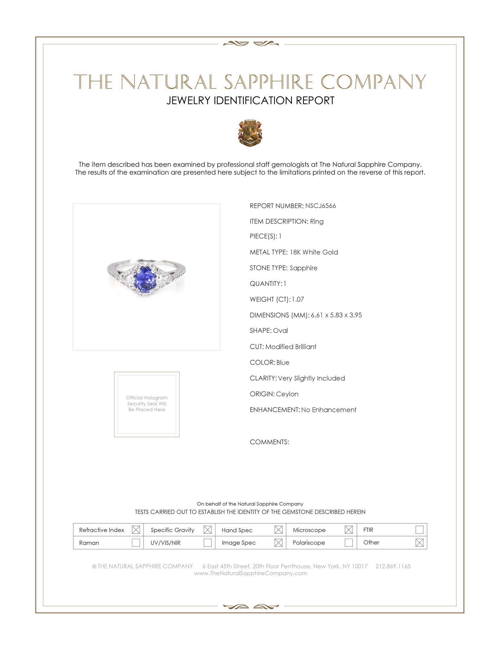 1.07ct Blue Sapphire Ring Certification