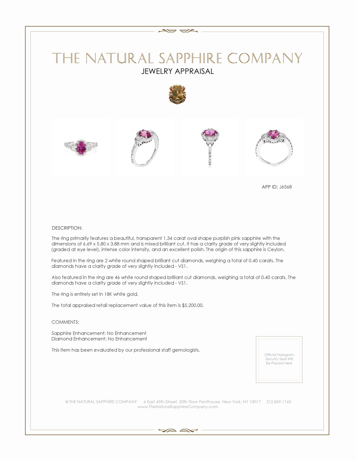 1.34ct Purplish Pink Sapphire Ring Certification 3