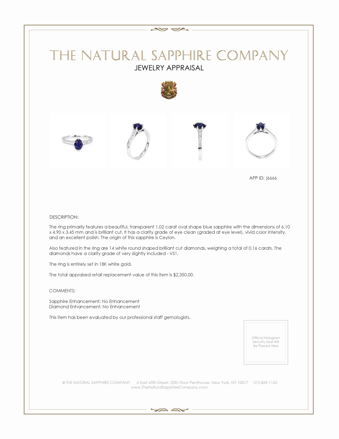 1.02ct Blue Sapphire Ring Certification 2