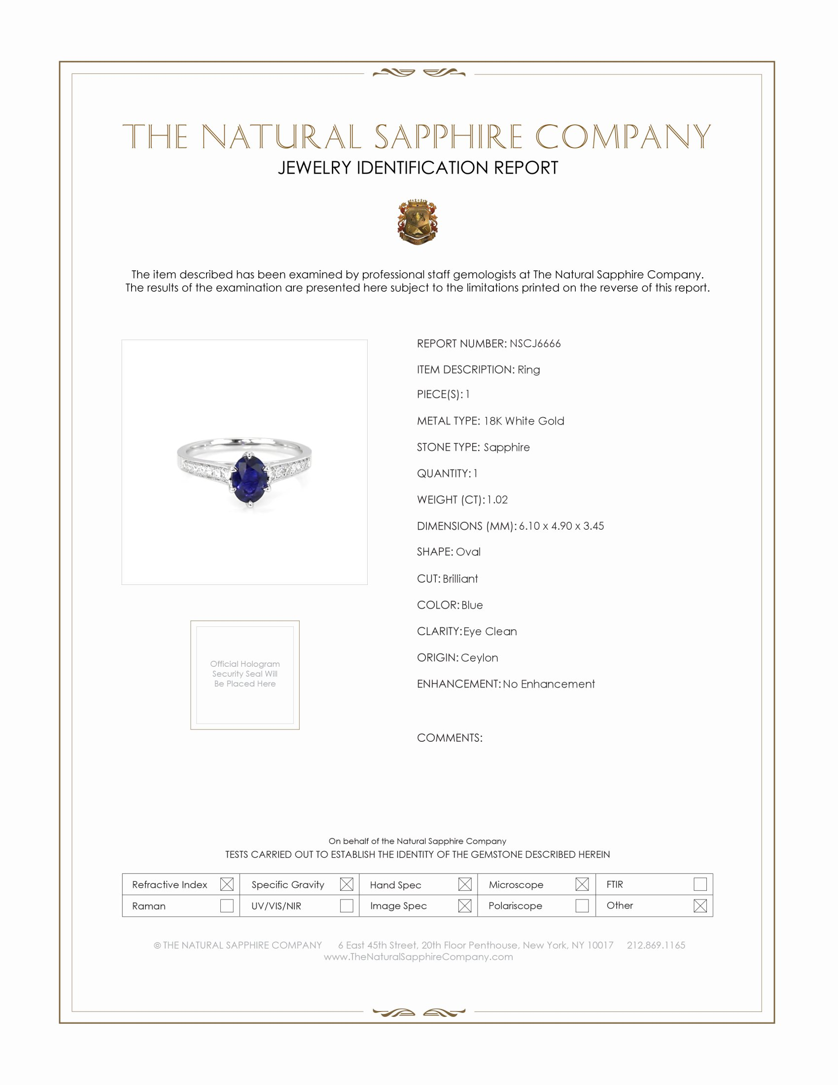 1.02ct Blue Sapphire Ring Certification