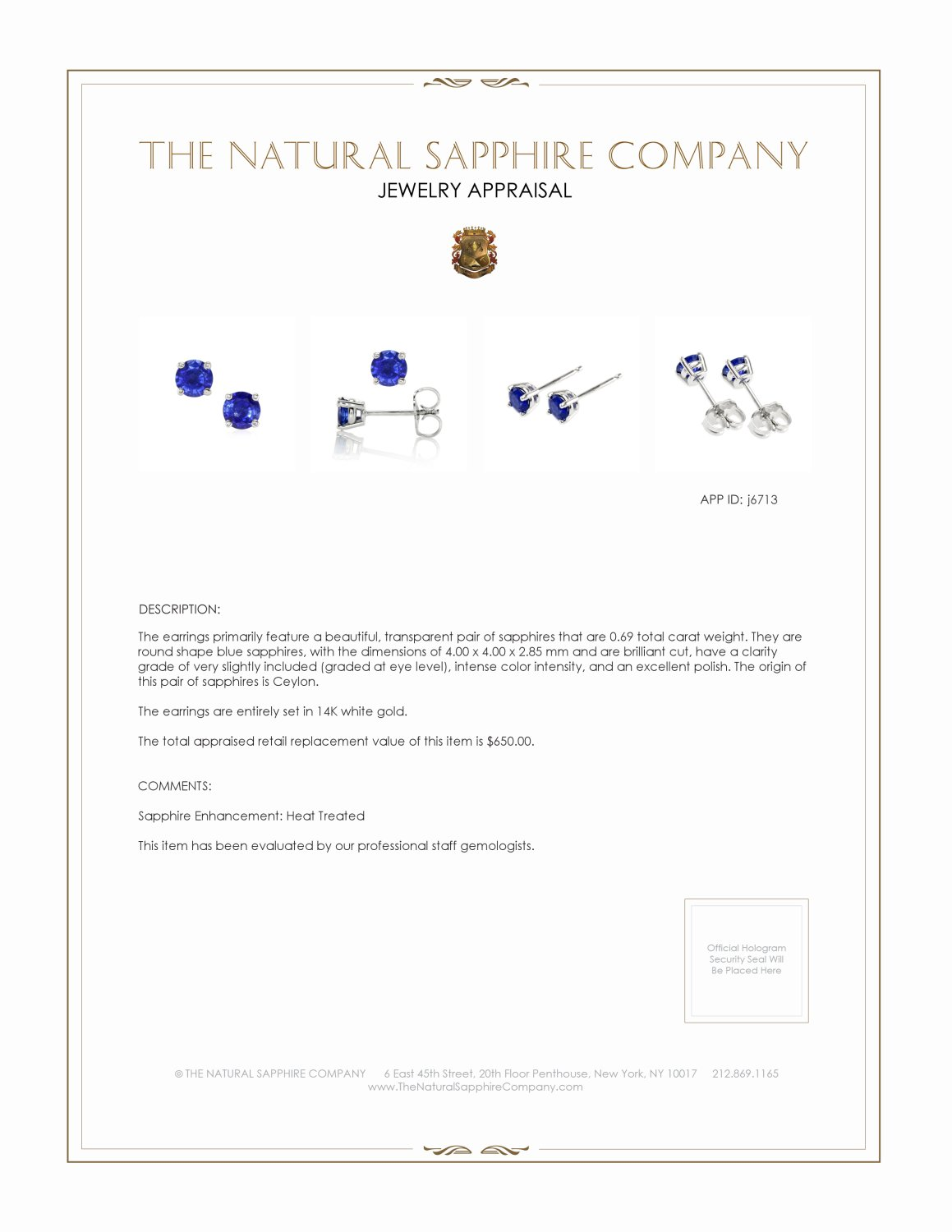0.69ct Blue Sapphire Earring Certification 2