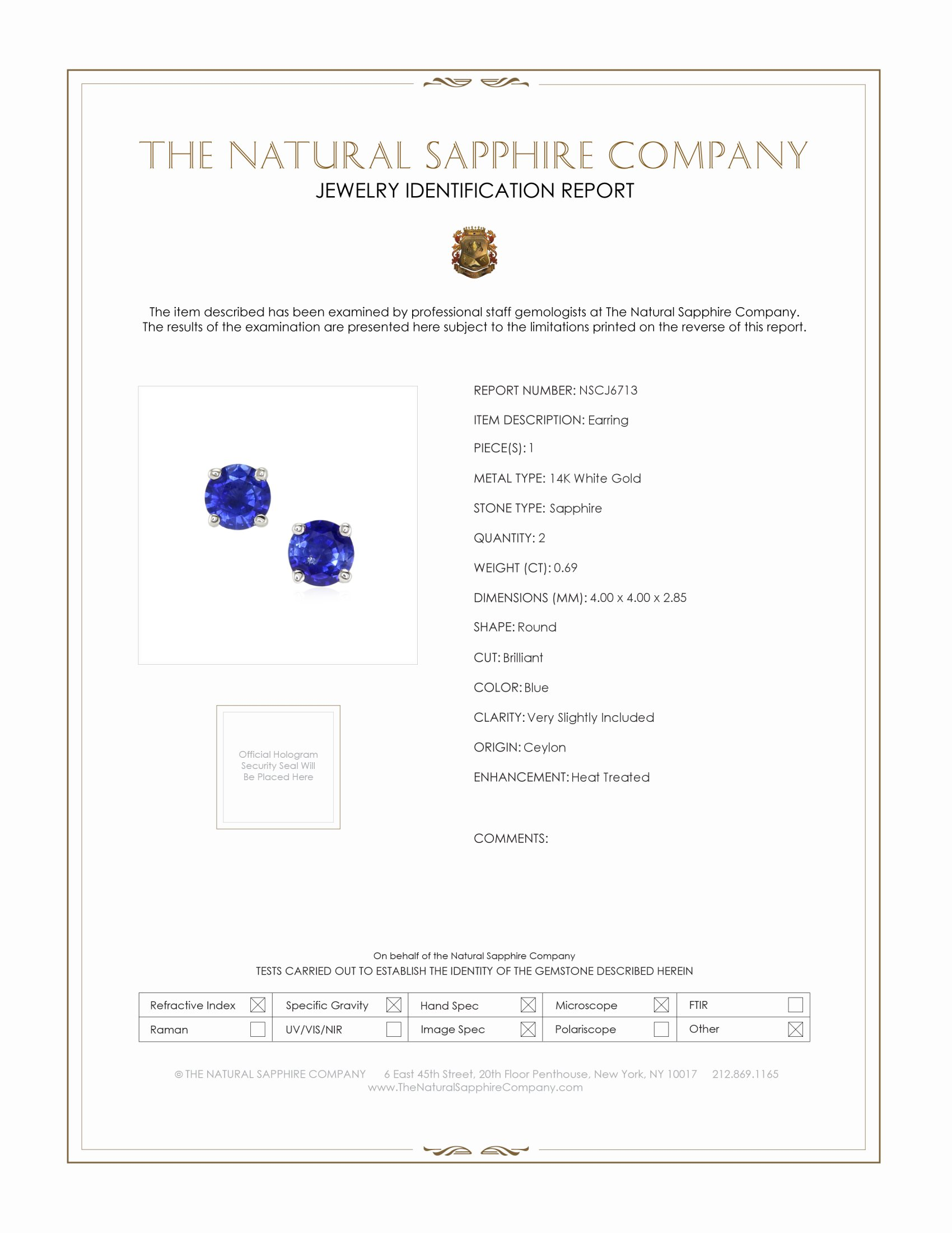 0.69ct Blue Sapphire Earring Certification
