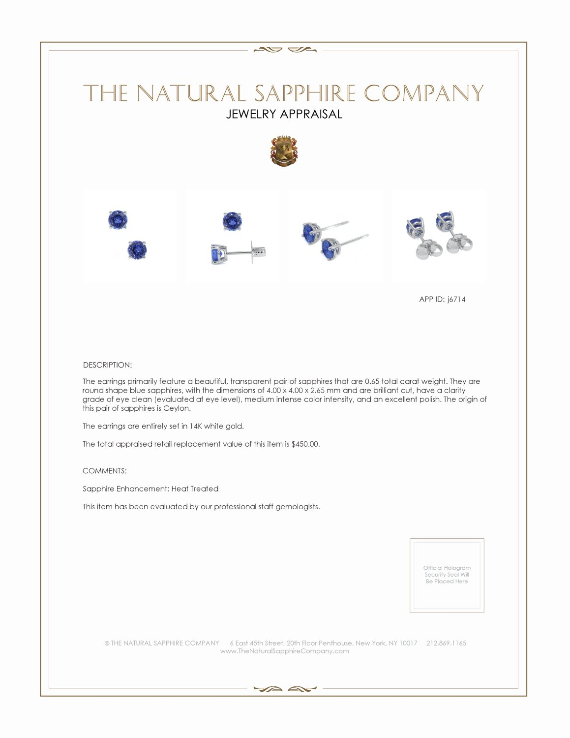 0.60ct Blue Sapphire Earring Certification 2