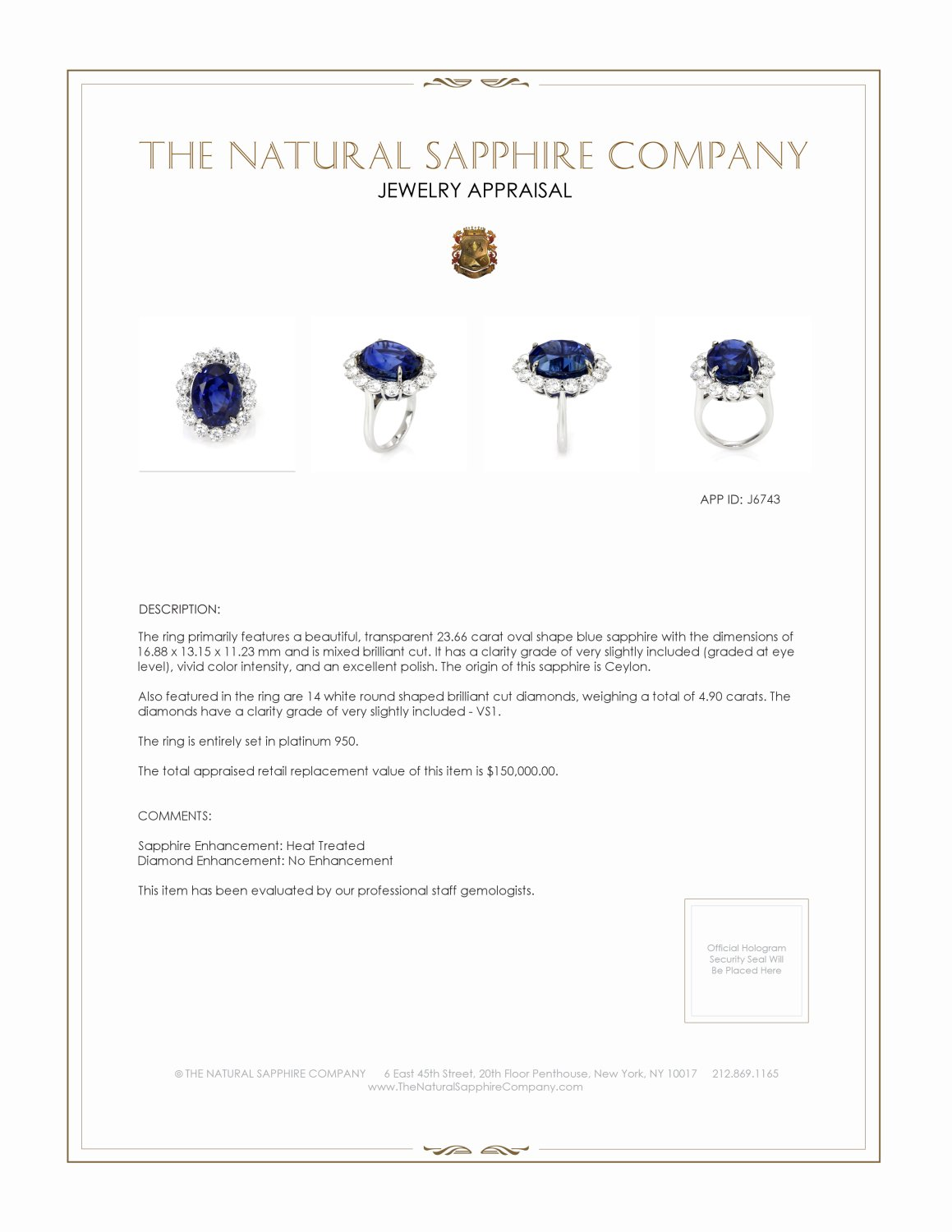 23.66ct Blue Sapphire Ring Certification 2