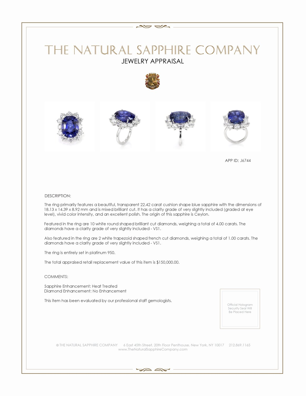 22.42ct Blue Sapphire Ring Certification 2