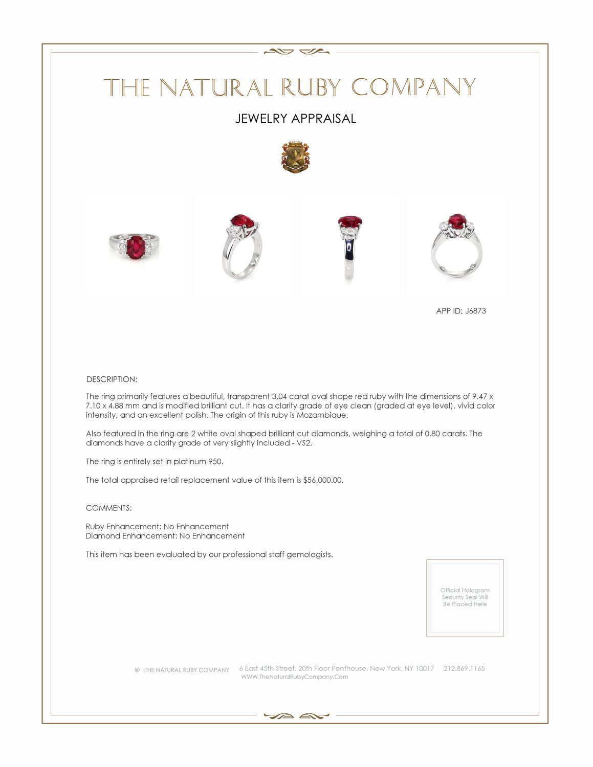 3.04ct Ruby Ring Certification 3