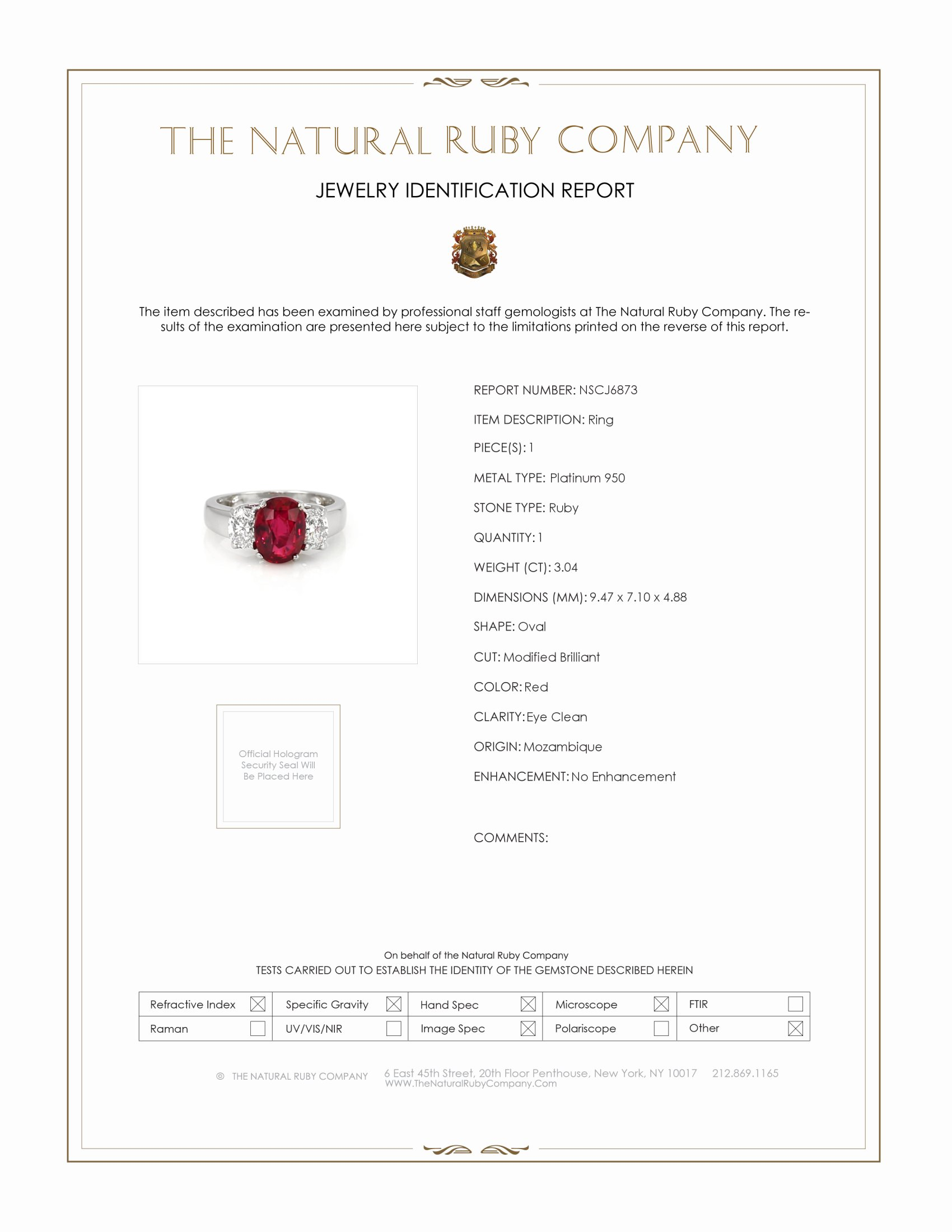 3.04ct Ruby Ring Certification